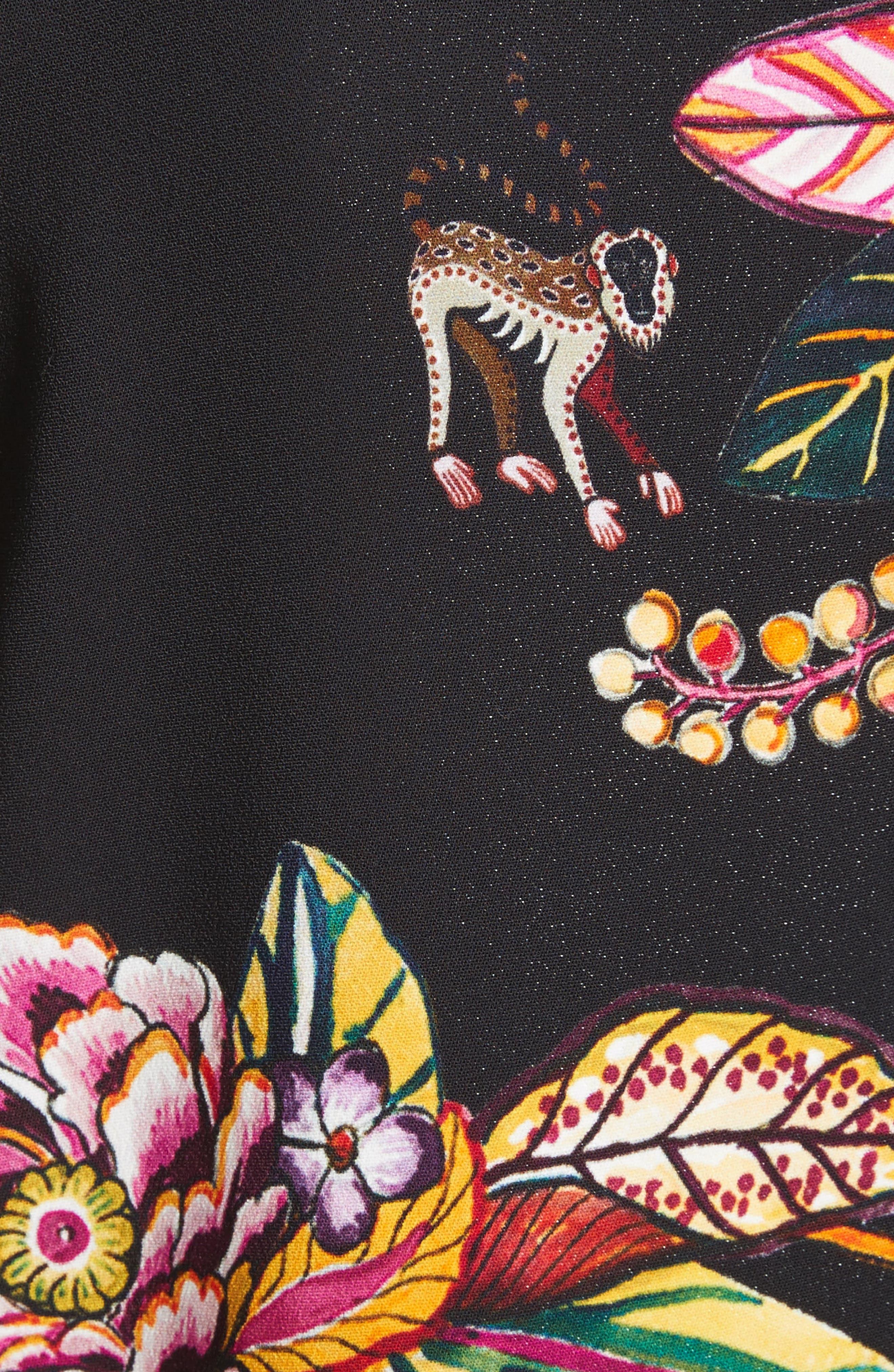 Floral Jungle & Animal Print Dress,                             Alternate thumbnail 5, color,                             001