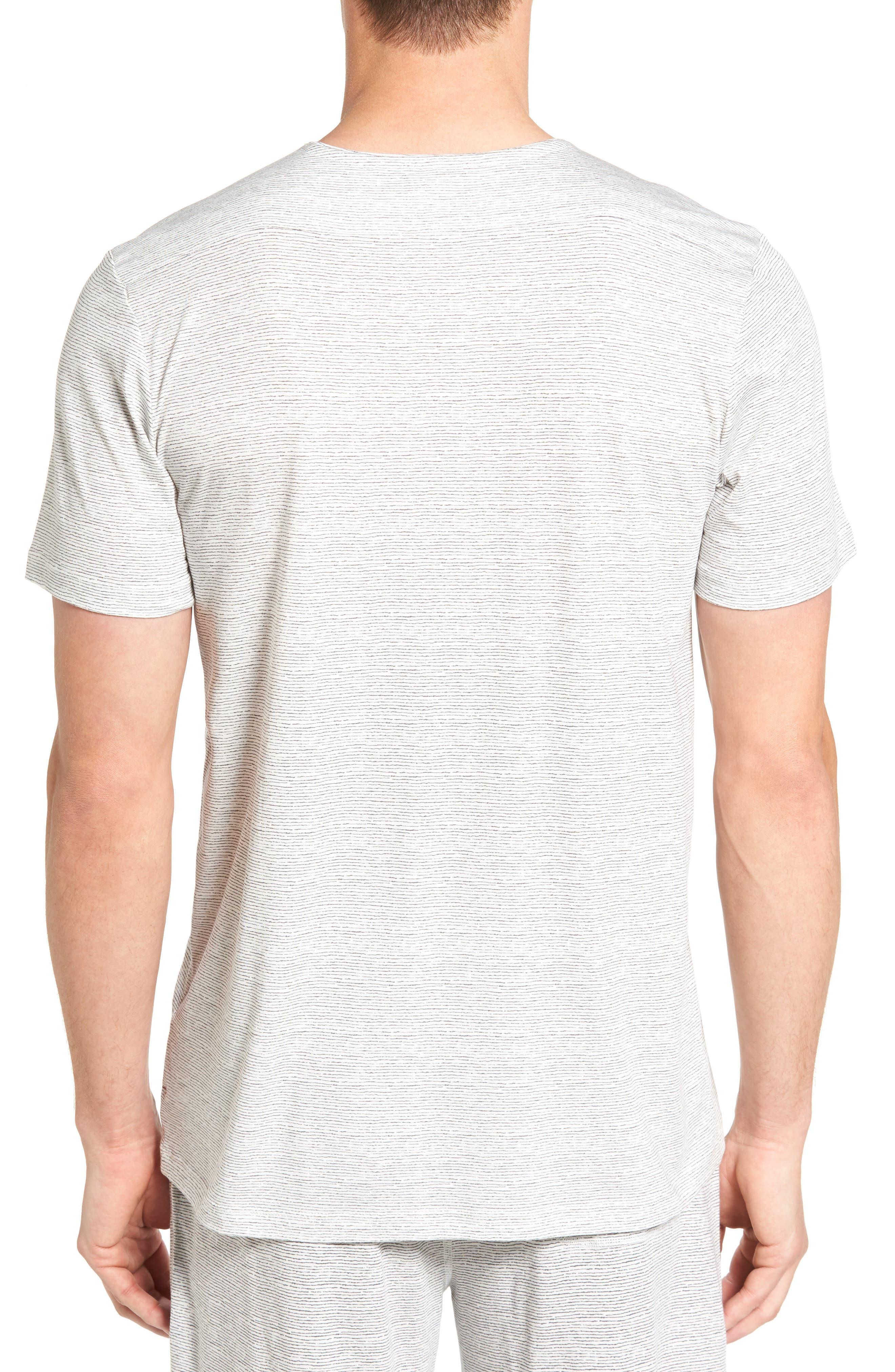 Feeder Stripe Pima Cotton & Modal V-Neck T-Shirt,                             Alternate thumbnail 4, color,