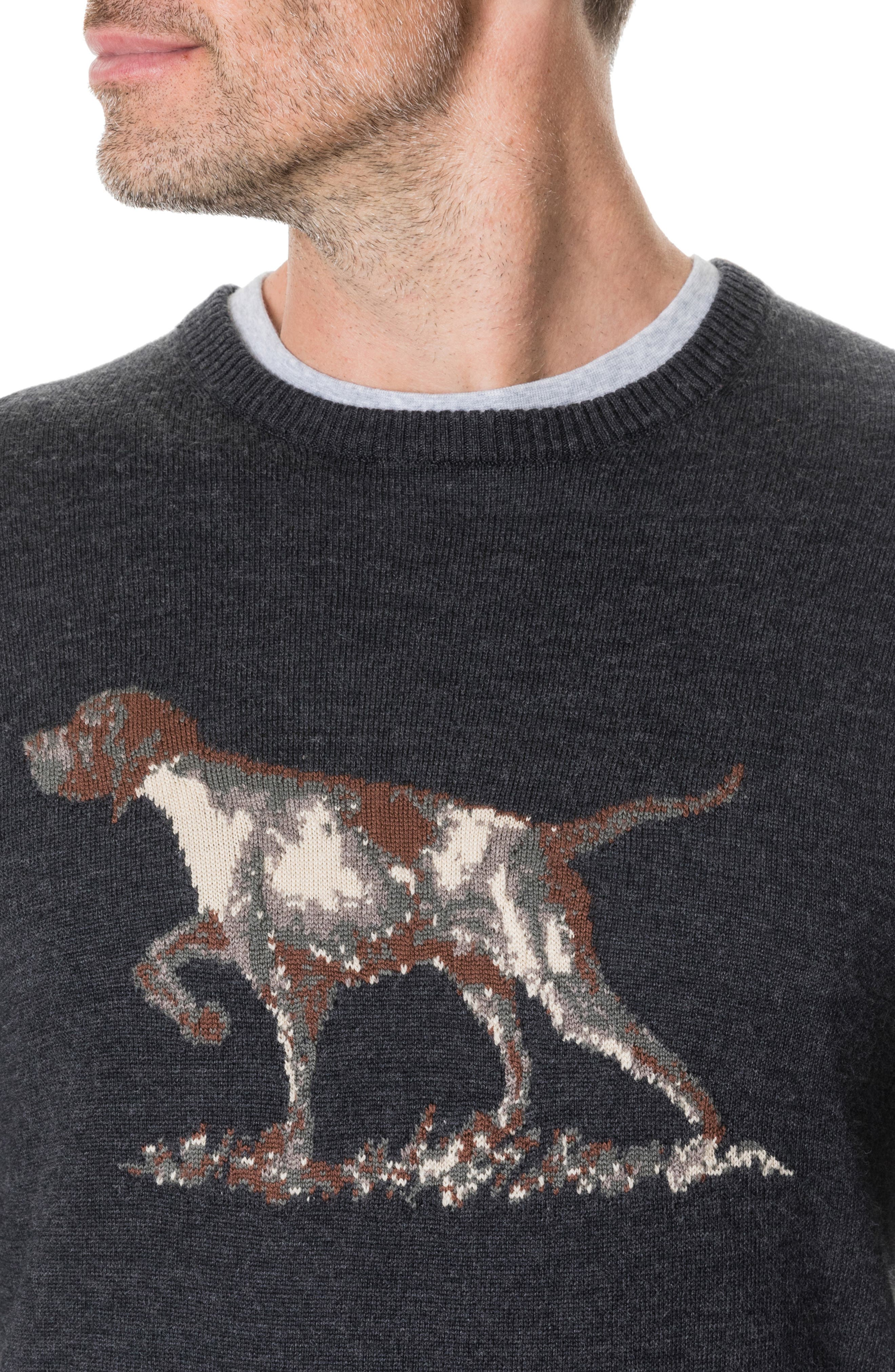 Calderwell Pointer Intarsia Knit Wool Sweater,                             Alternate thumbnail 4, color,                             CHARCOAL