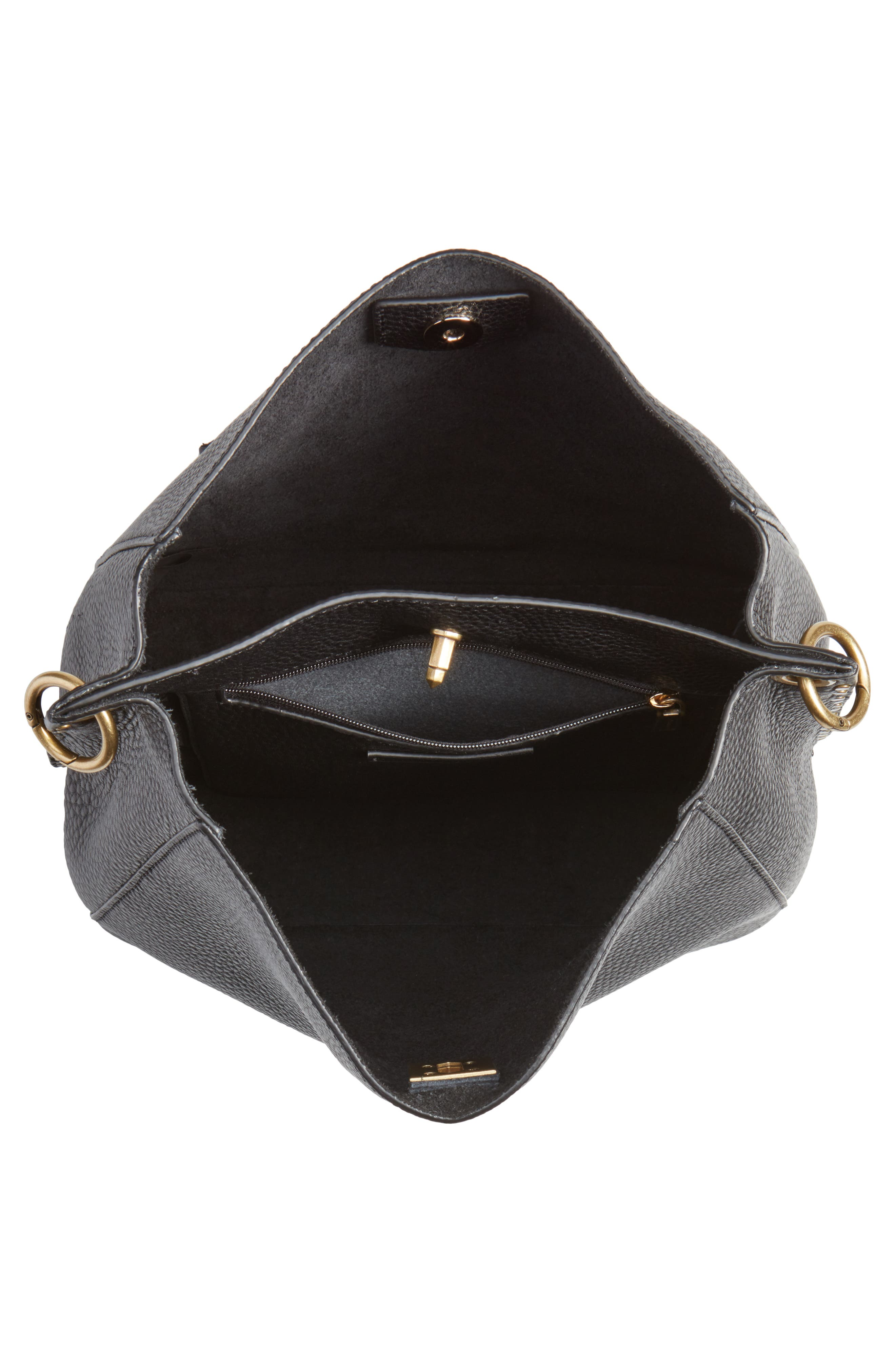 Darren Deerskin Leather Shoulder Bag,                             Alternate thumbnail 4, color,                             BLACK