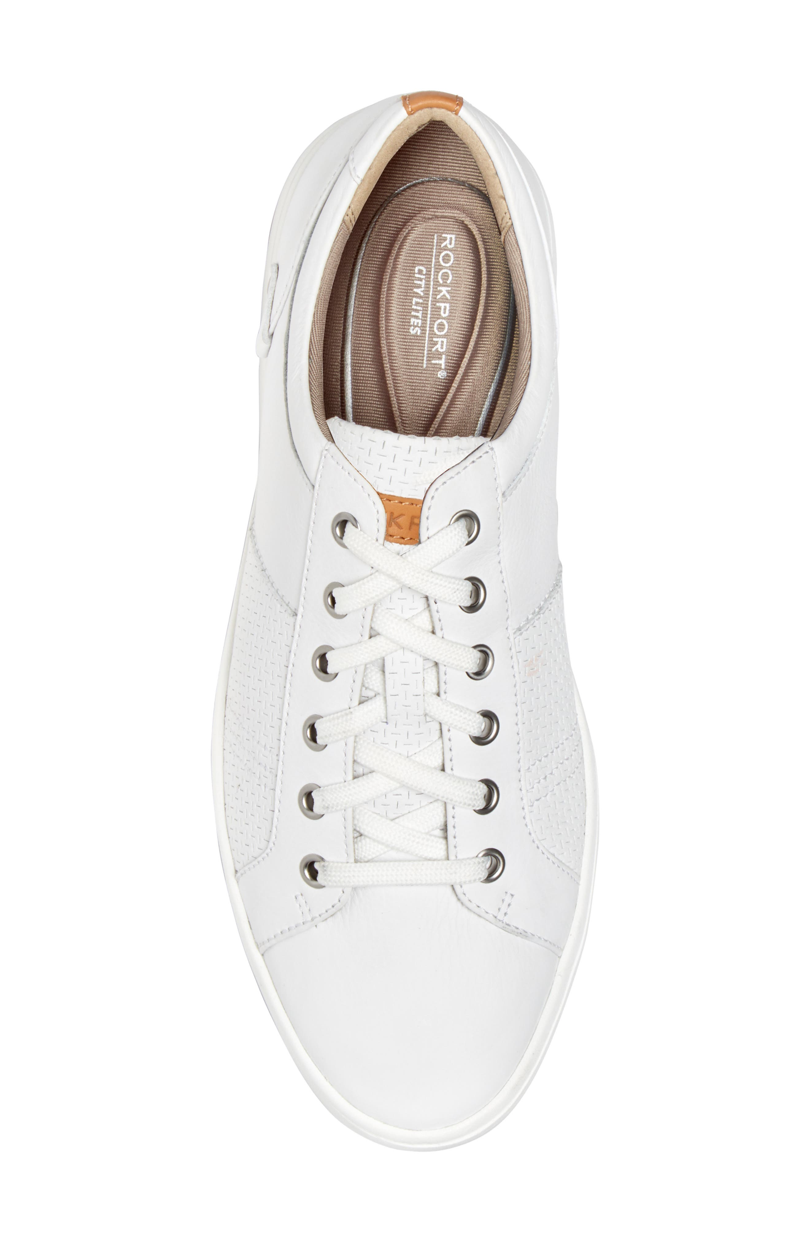 College Textured Sneaker,                             Alternate thumbnail 5, color,                             WHITE LEATHER