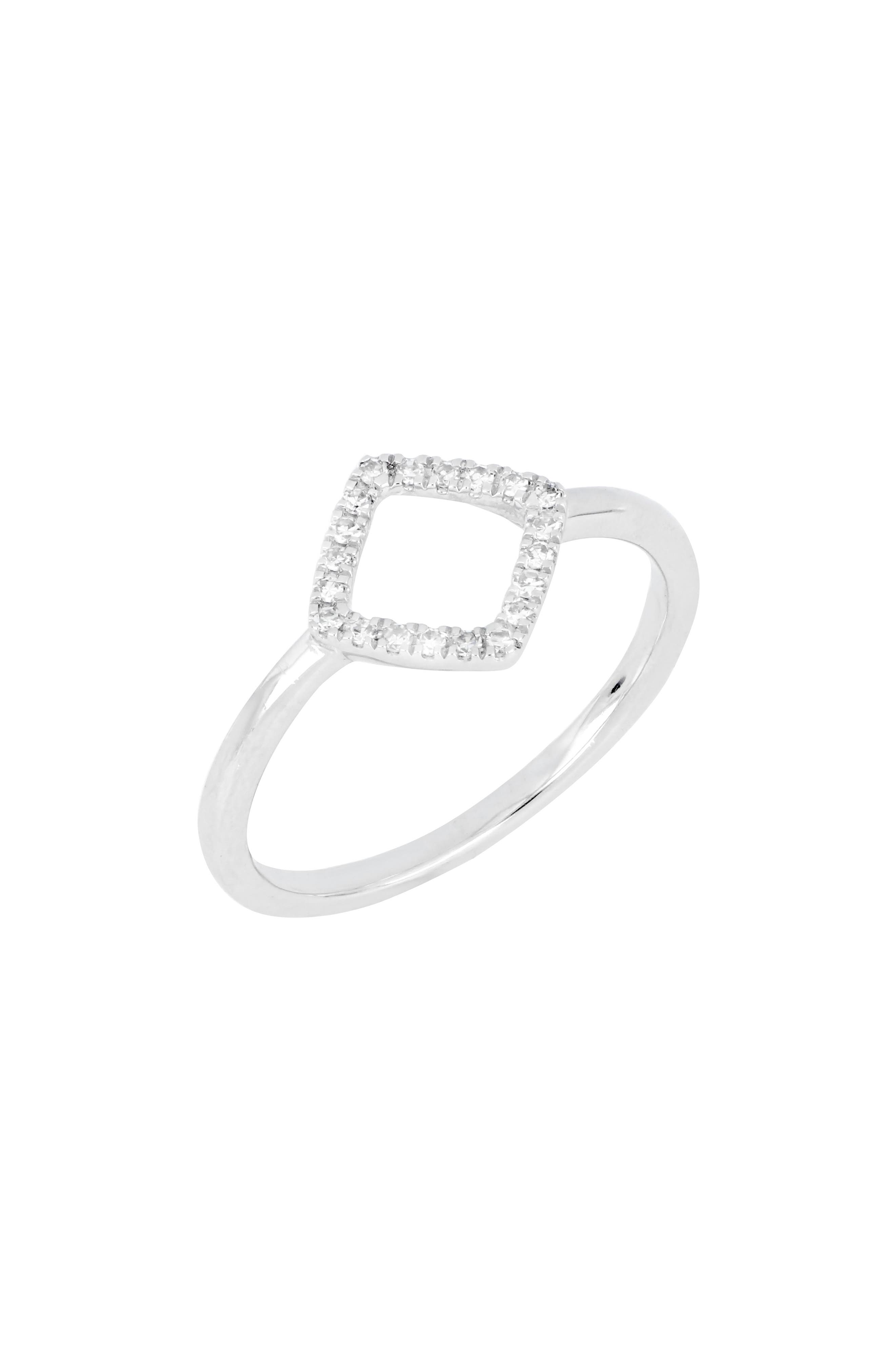 Carrière Diamond Open Square Stacking Ring,                             Main thumbnail 1, color,                             SILVER/ DIAMOND