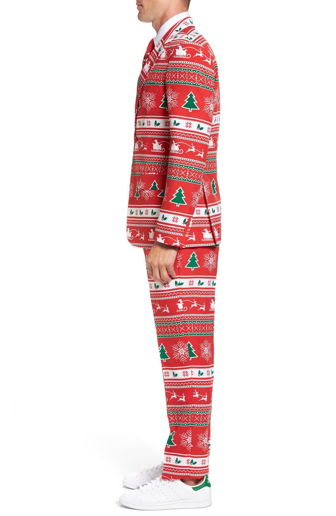 'Winter Wonderland' Trim Fit Two-Piece Suit with Tie,                             Alternate thumbnail 3, color,                             601