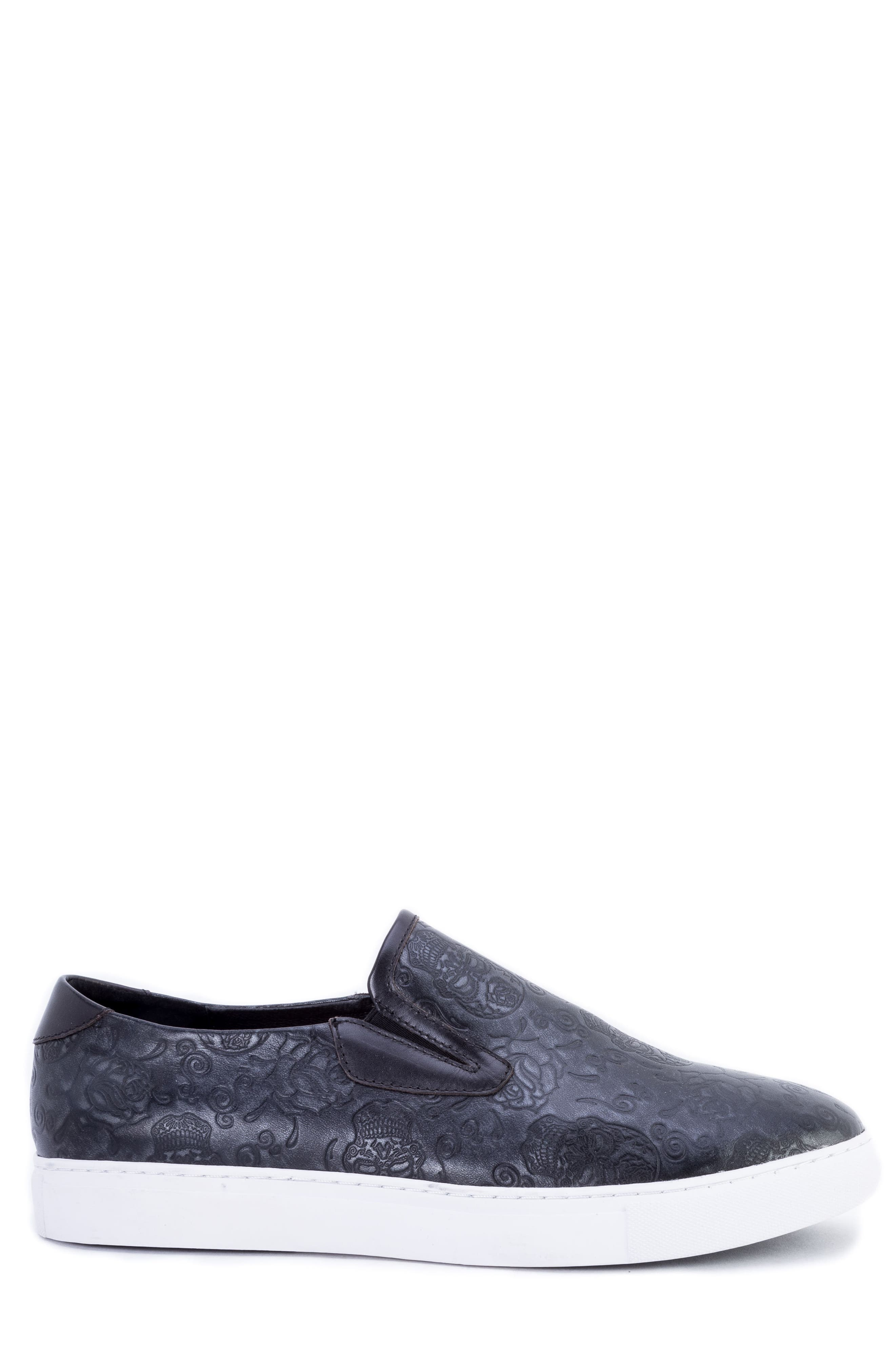 Baxter Embossed Slip-On Sneaker,                             Alternate thumbnail 3, color,                             BLACK LEATHER