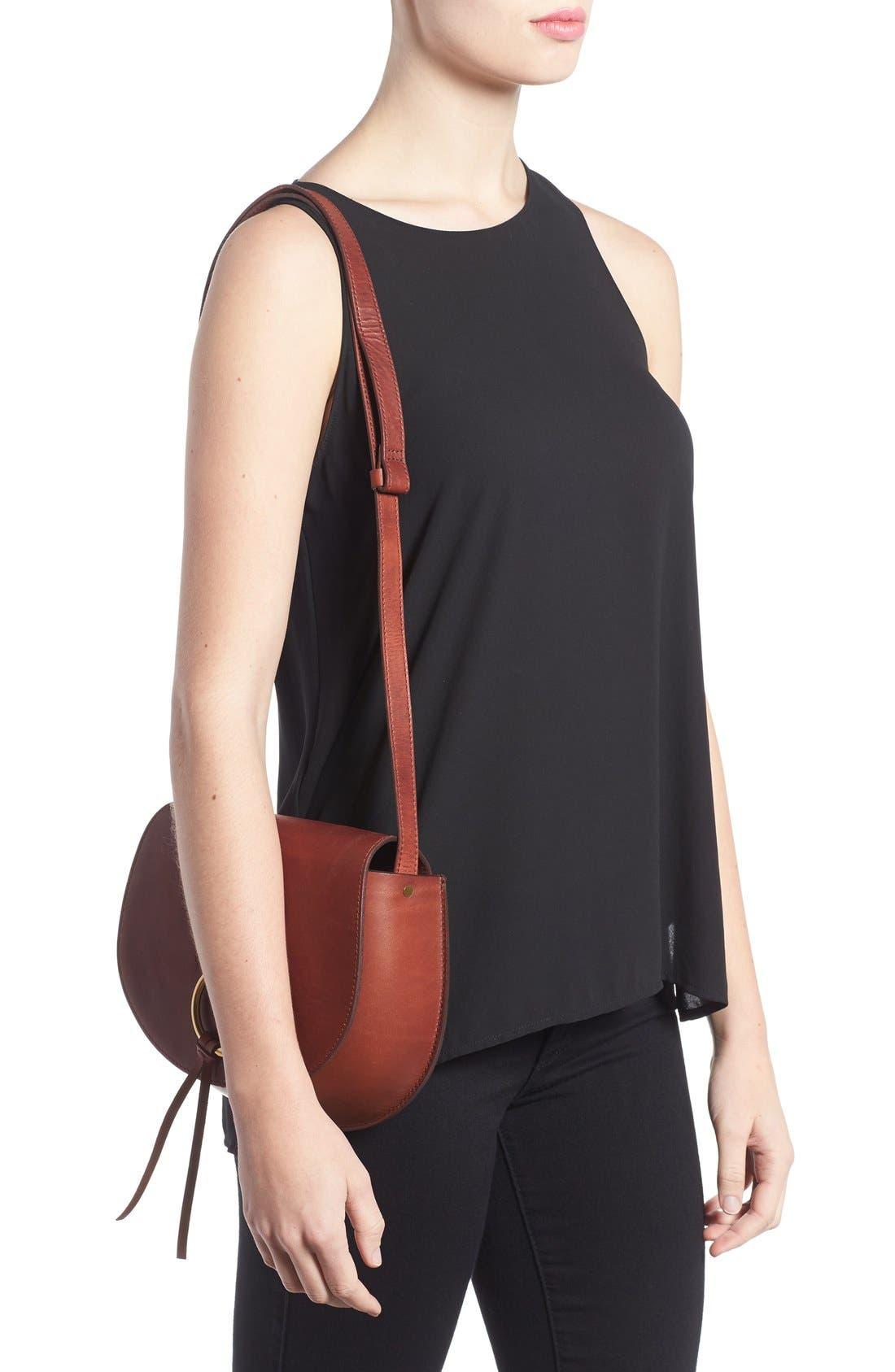 O-Ring Leather Saddle Bag,                             Alternate thumbnail 3, color,                             200