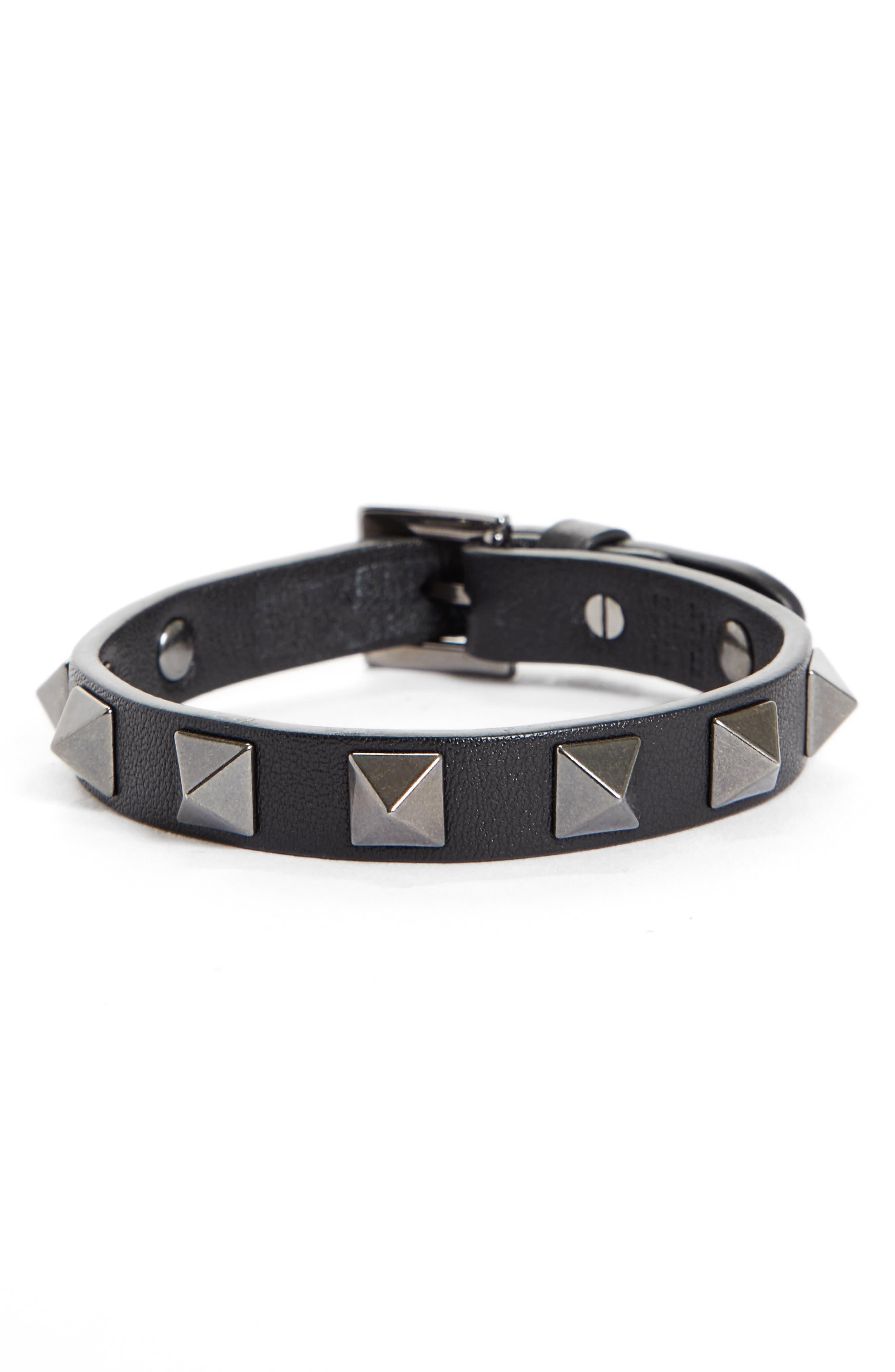Rockstud Leather Bracelet,                         Main,                         color, 001