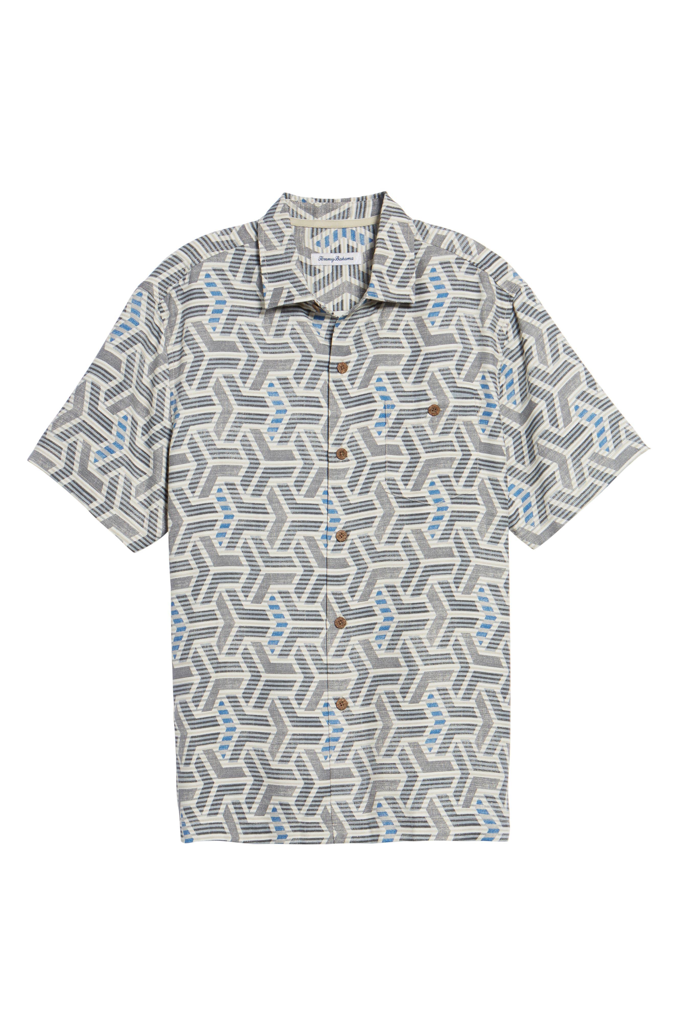 Wellington Geometric Print Sport Shirt,                             Alternate thumbnail 6, color,