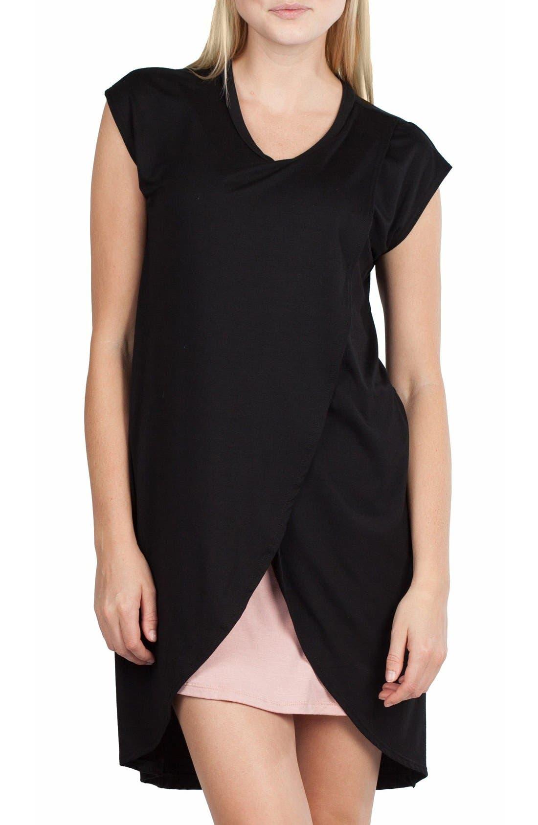 SAVI MOM,                             Lille Maternity/Nursing Tunic Dress,                             Alternate thumbnail 5, color,                             BLACK/ DUSTY PINK CONTRAST