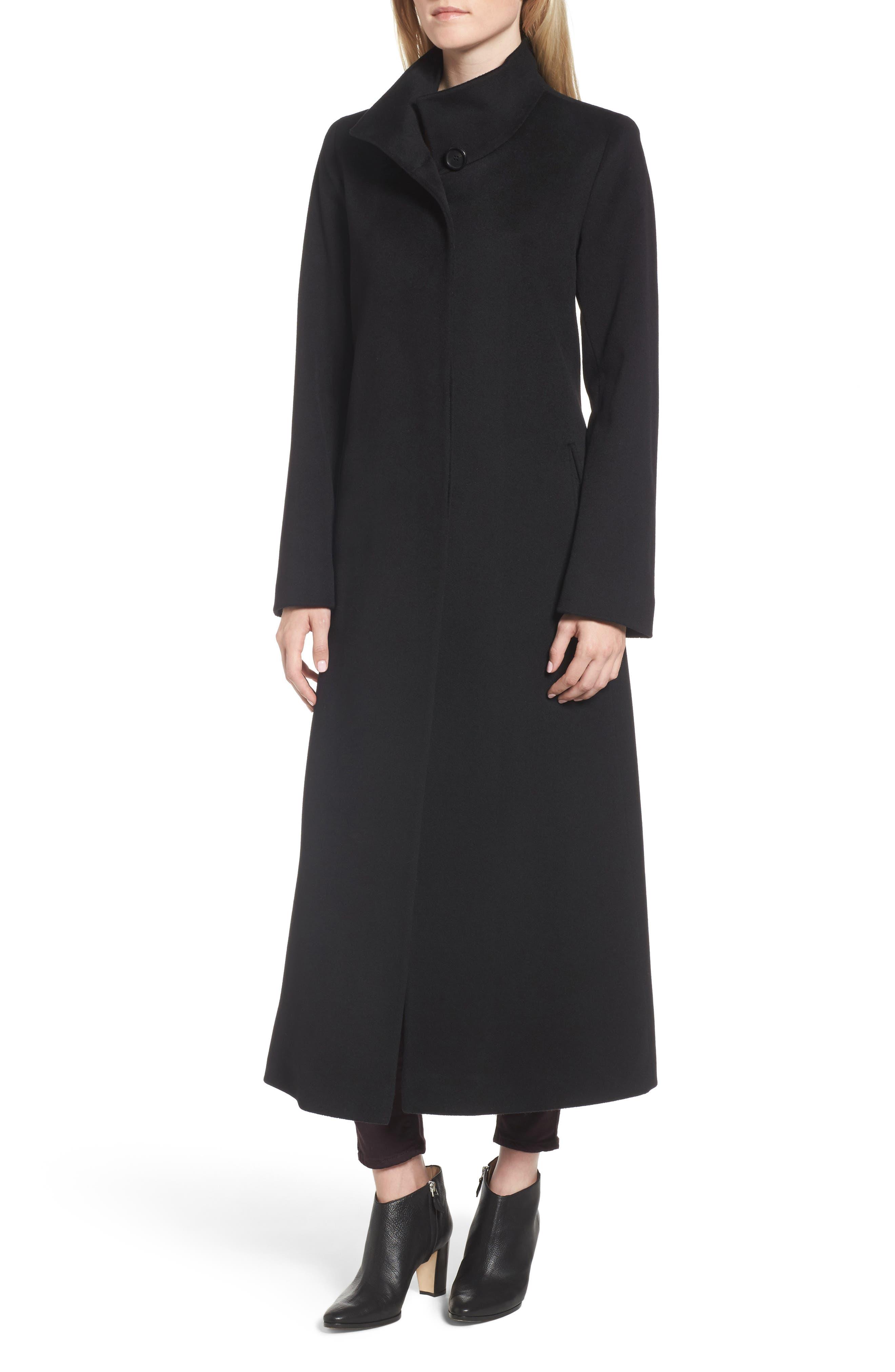 Long Wool Coat,                             Alternate thumbnail 5, color,                             001