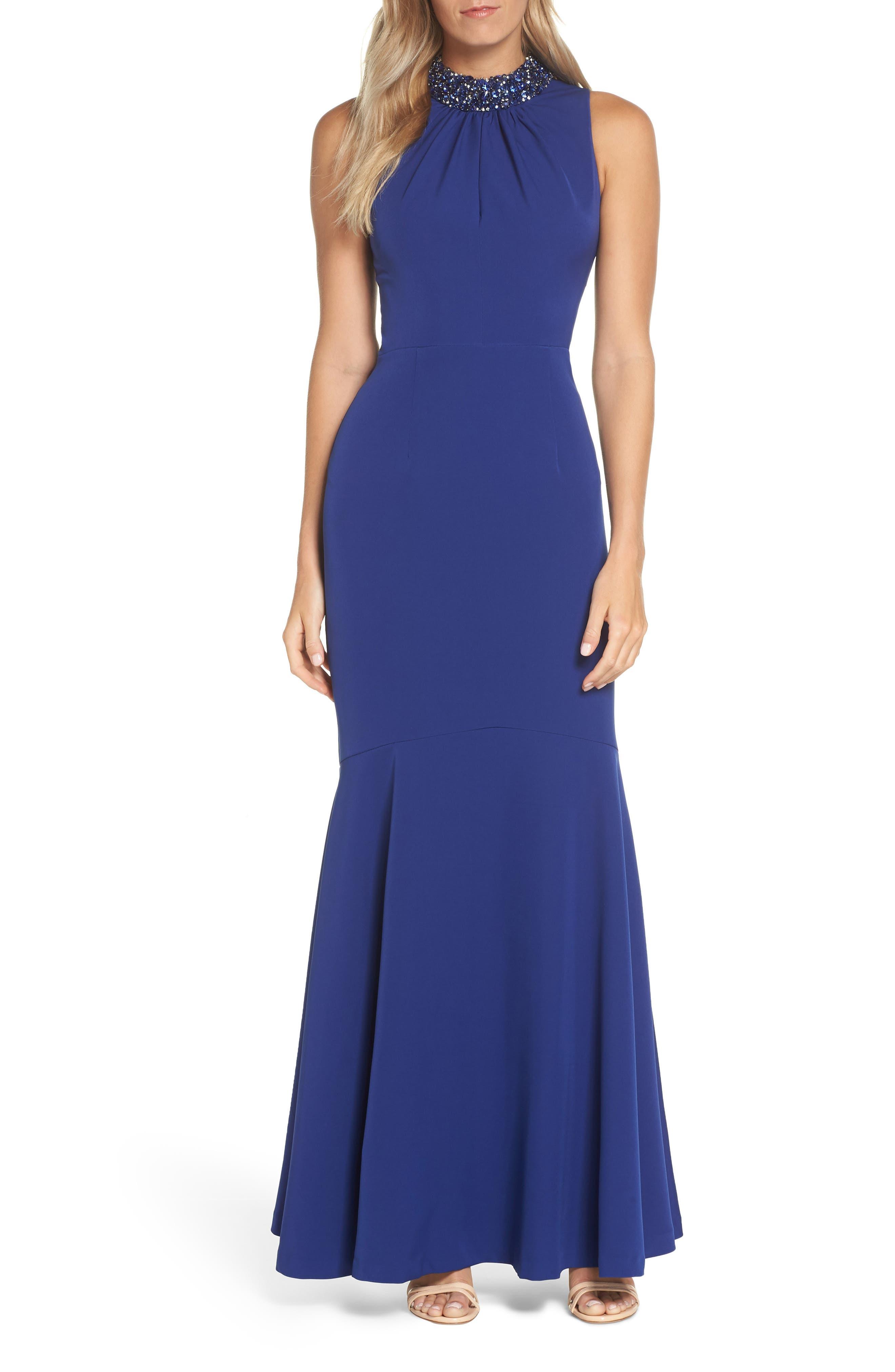 Vince Camuto Laguna Scuba Crepe Gown, Blue