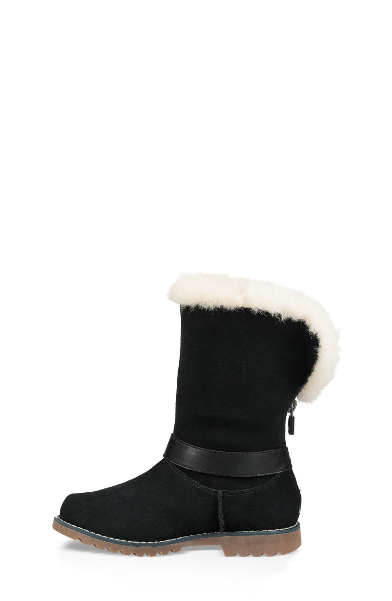 Nessa Genuine Shearling Boot,                             Alternate thumbnail 6, color,                             BLACK