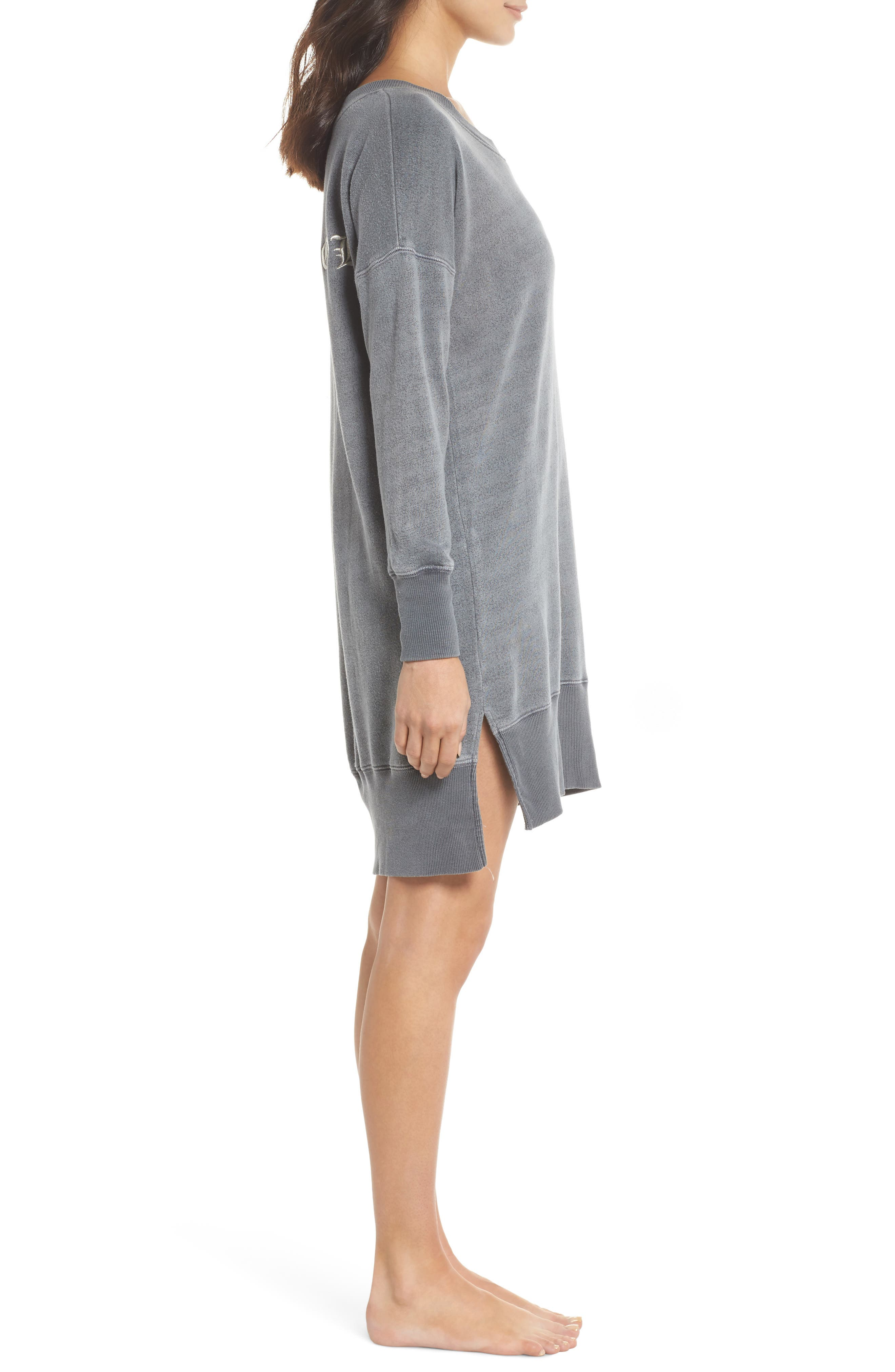 Lounge Sweatshirt Dress,                             Alternate thumbnail 3, color,                             FADED BLACK