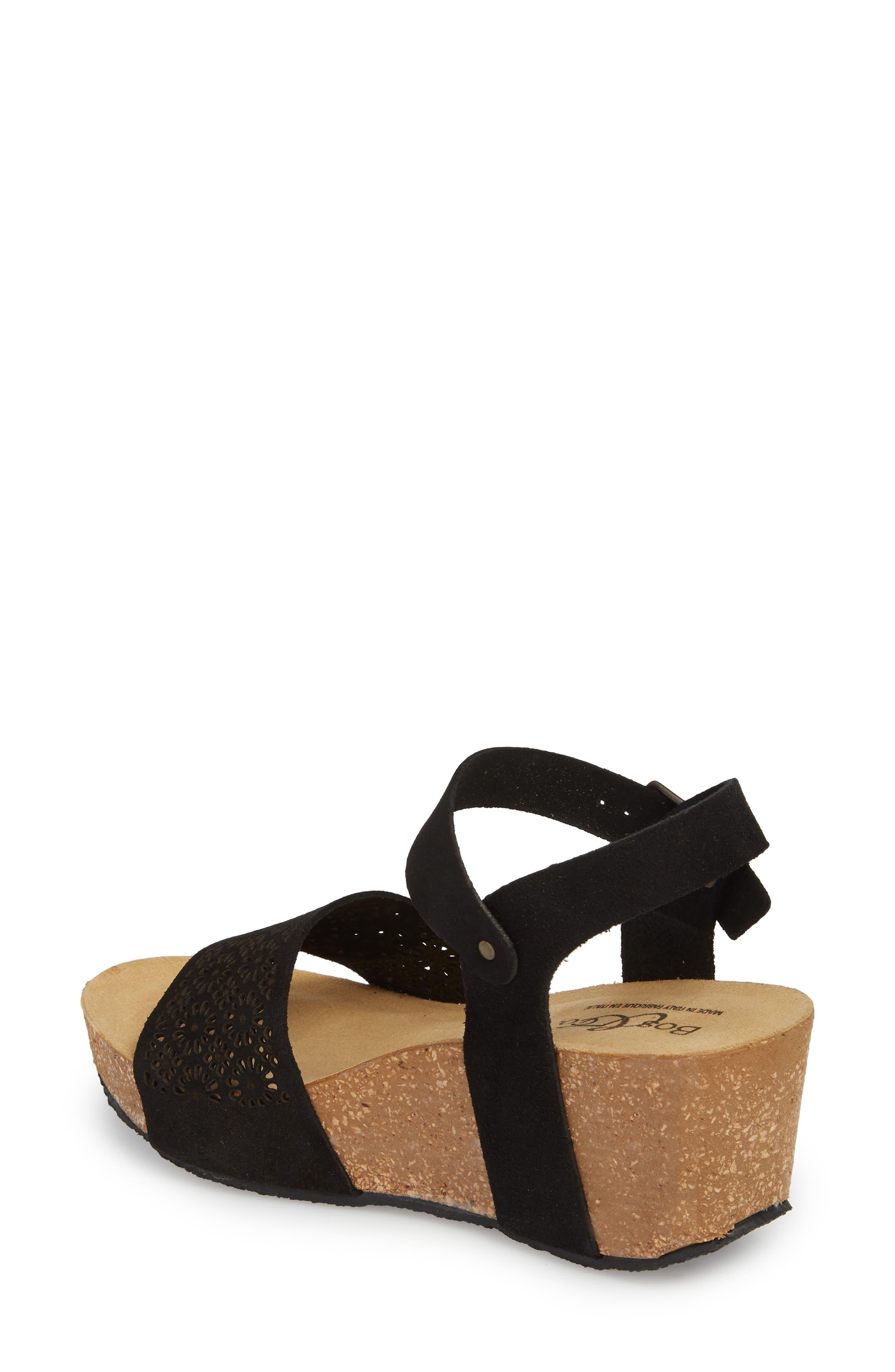 Lolo Platform Wedge Sandal,                             Alternate thumbnail 2, color,                             BLACK SUEDE