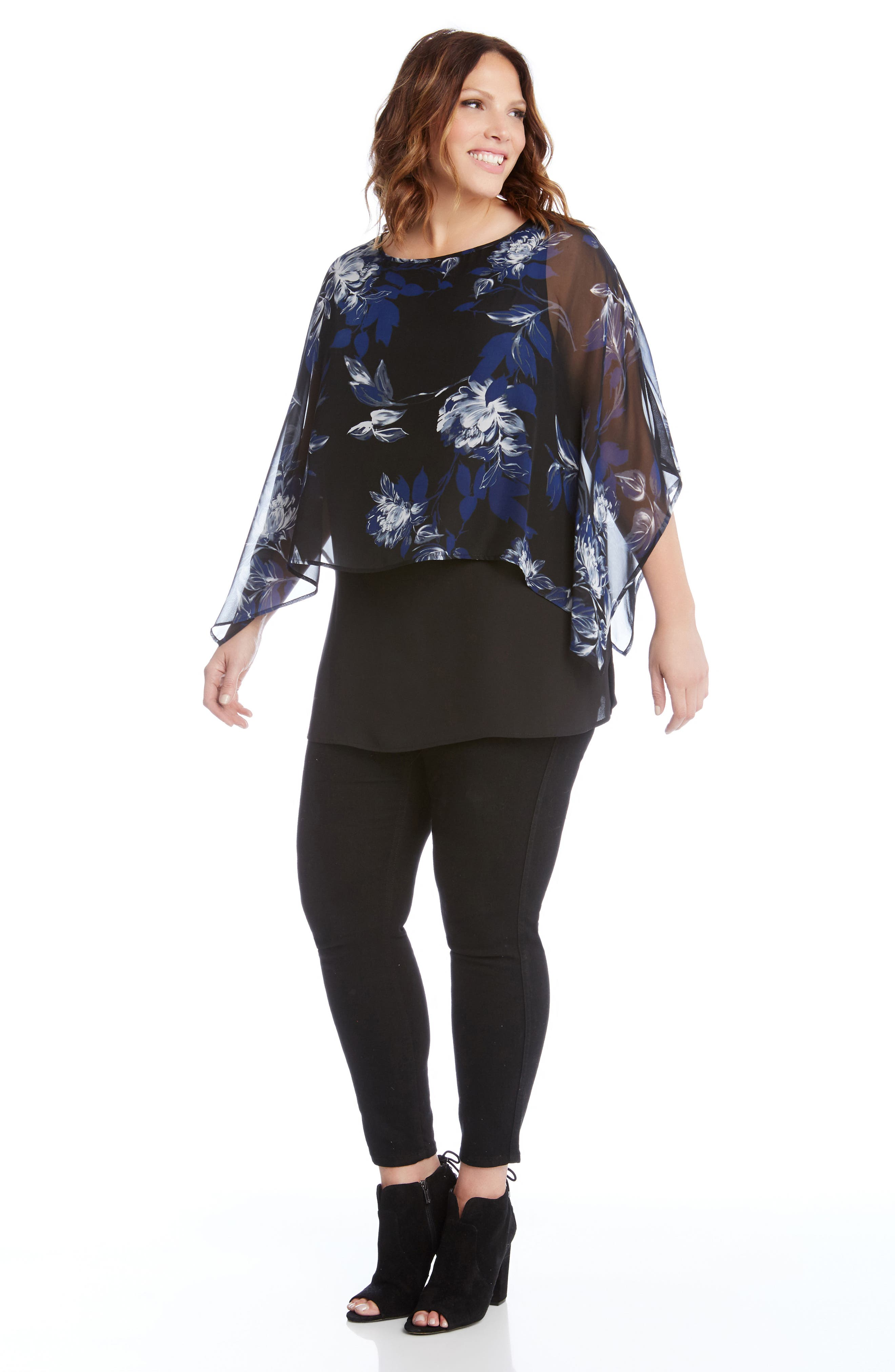 Floral Print Double Layer Boat Neck Top,                             Alternate thumbnail 3, color,                             460