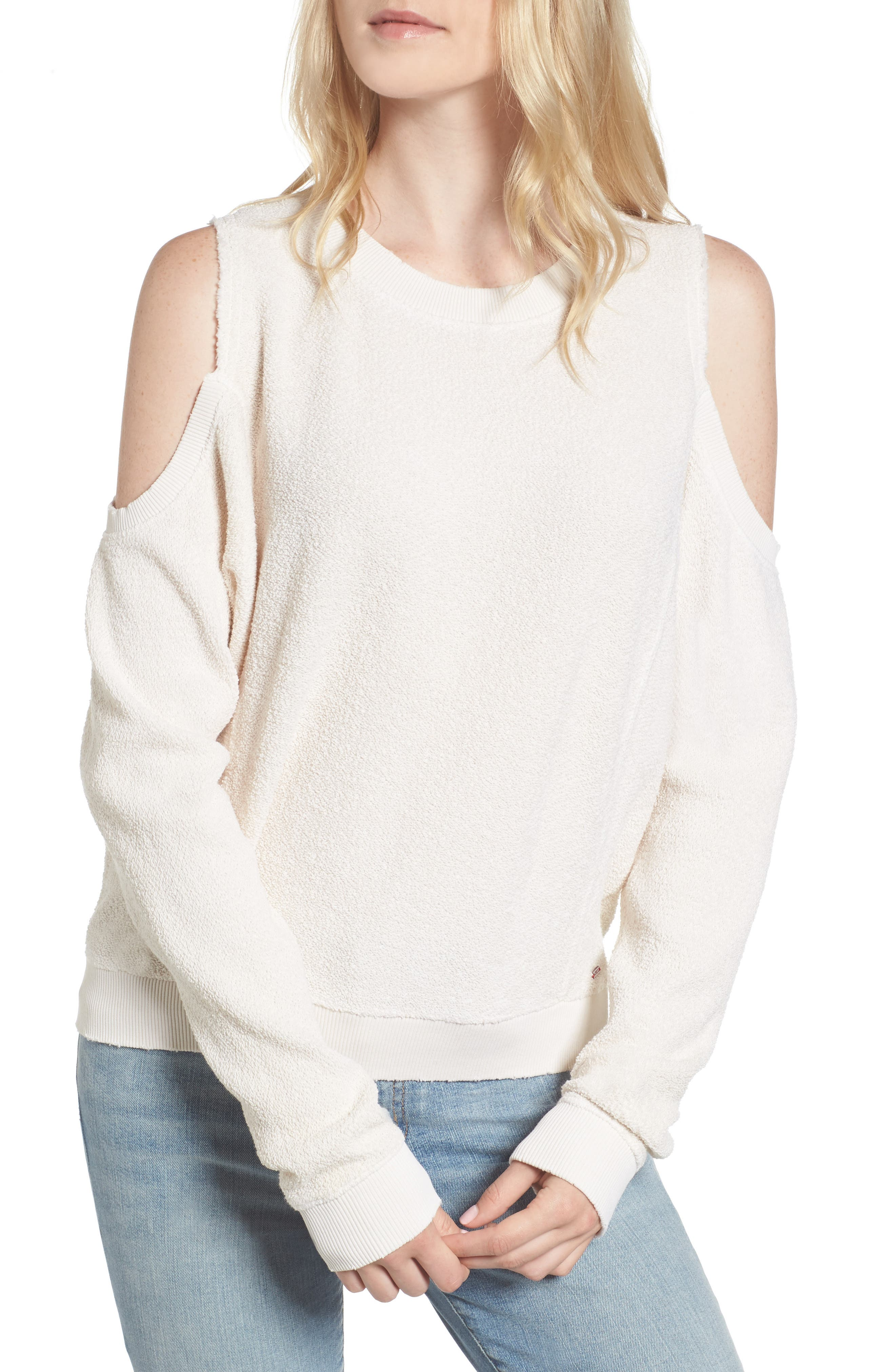 Maia Cold Shoulder Reversed Sweatshirt,                             Main thumbnail 1, color,                             100
