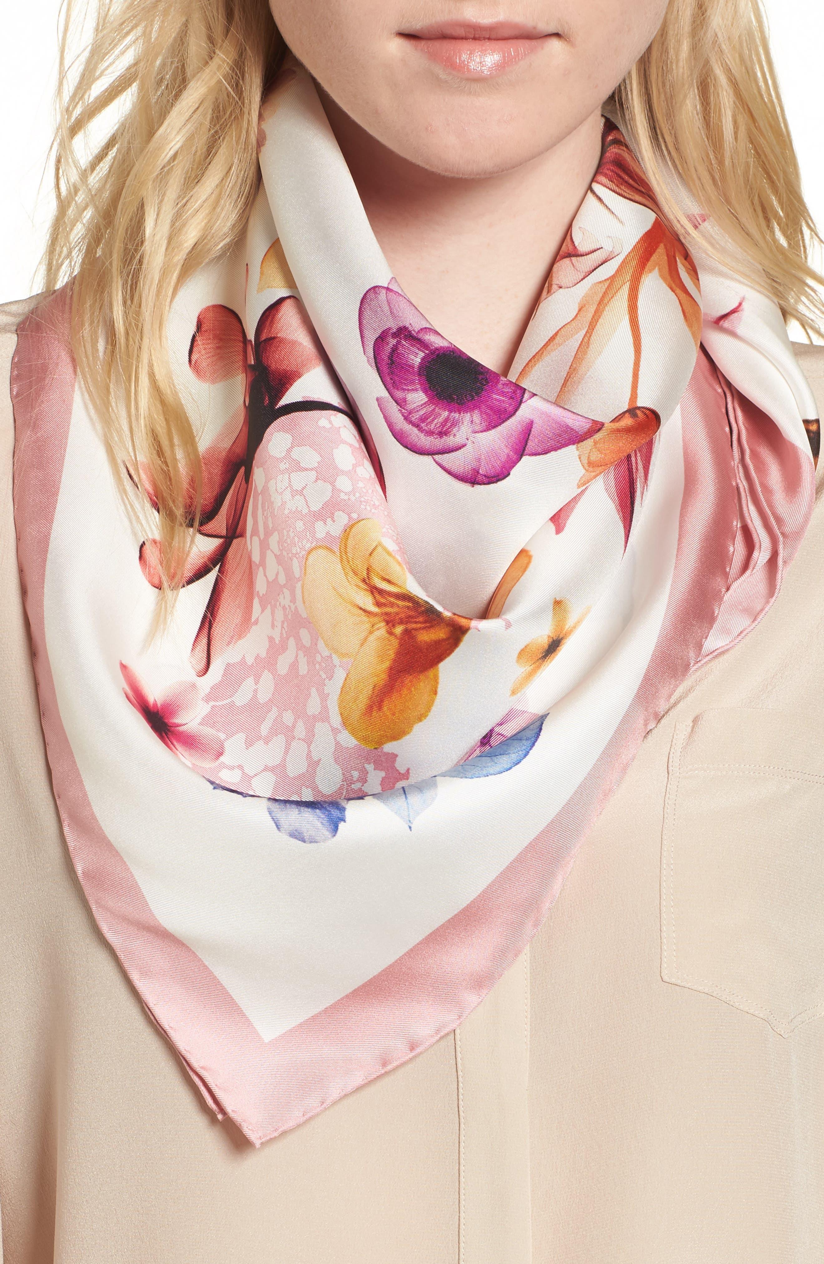Silk Square Scarf,                         Main,                         color, 100