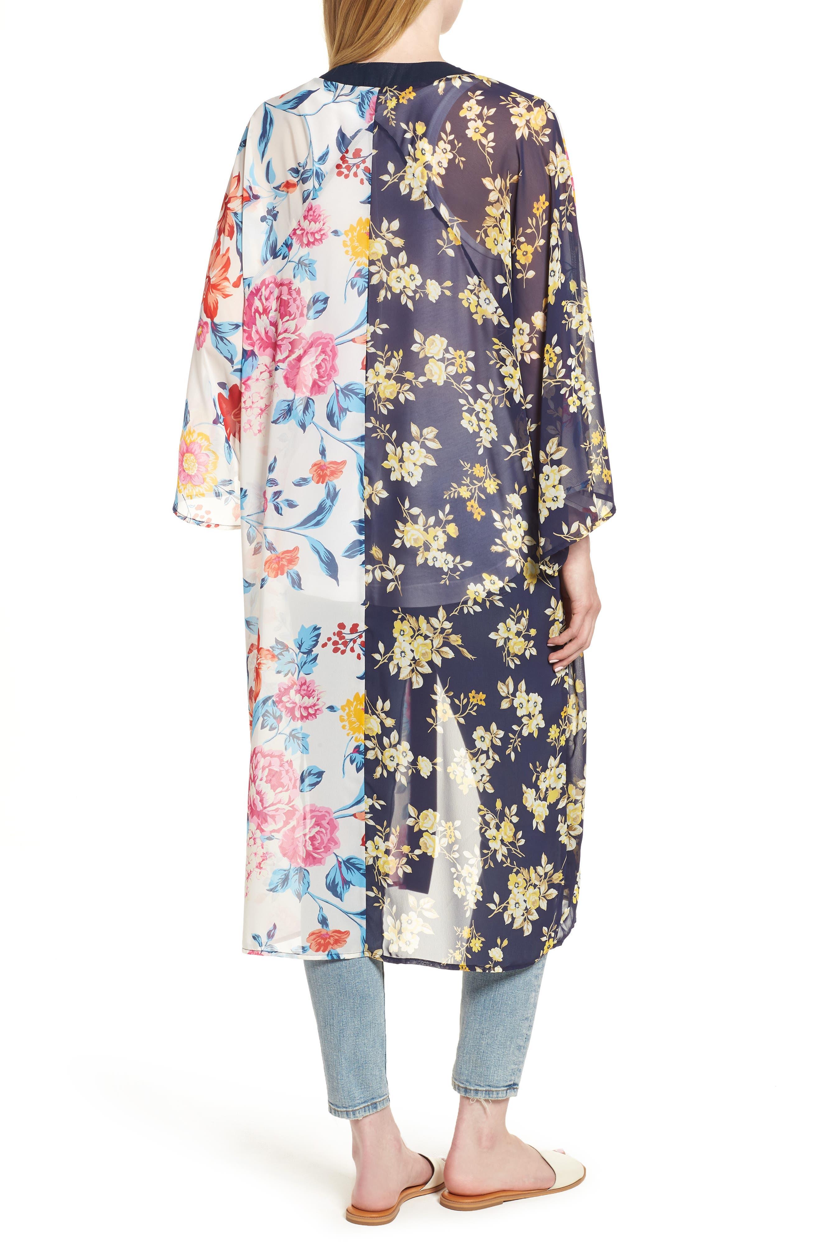 Mix Print Kimono,                             Alternate thumbnail 2, color,                             MULTI COMBO