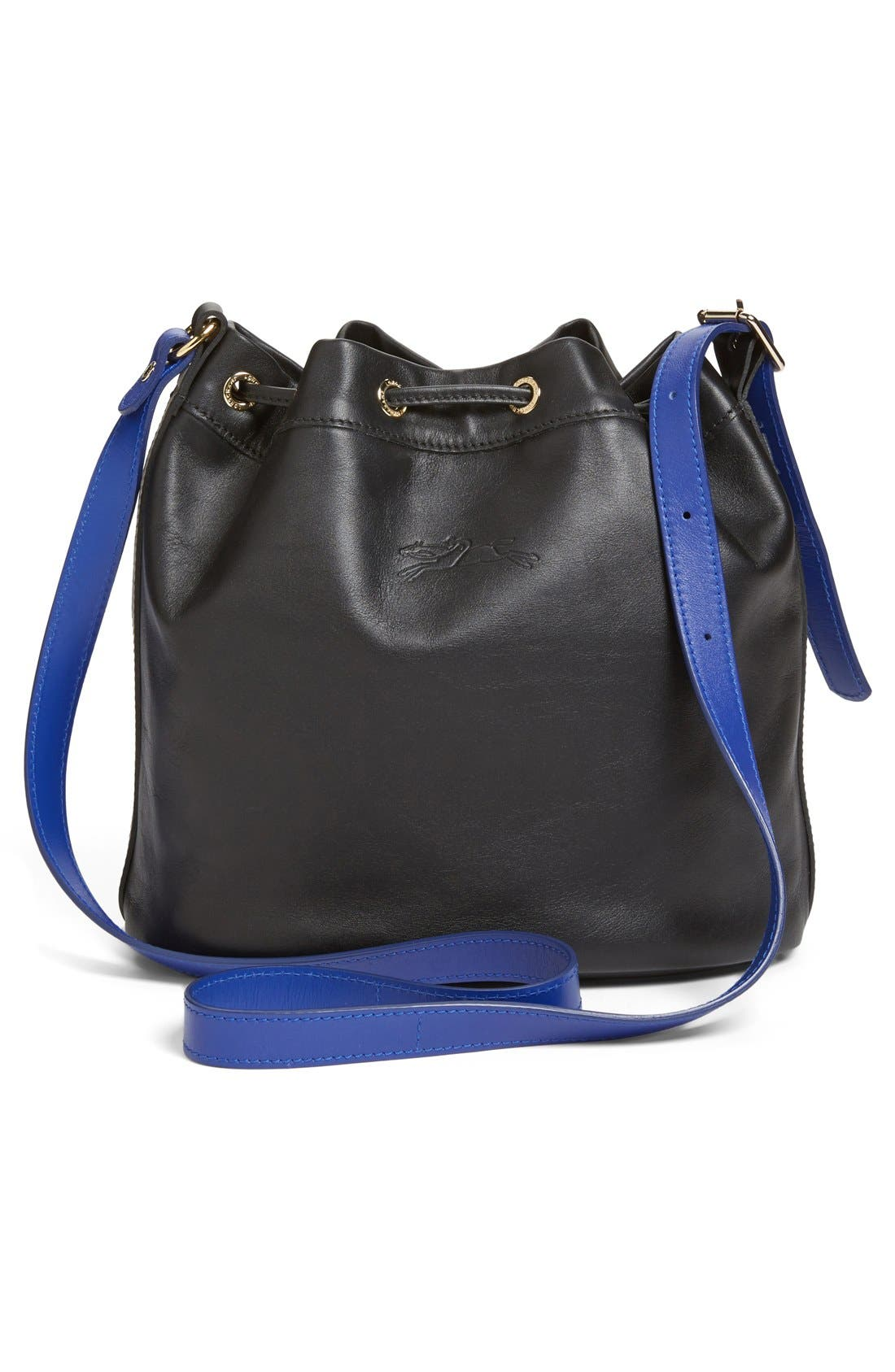 LONGCHAMP,                             '2.0' Leather Bucket Bag,                             Alternate thumbnail 4, color,                             001