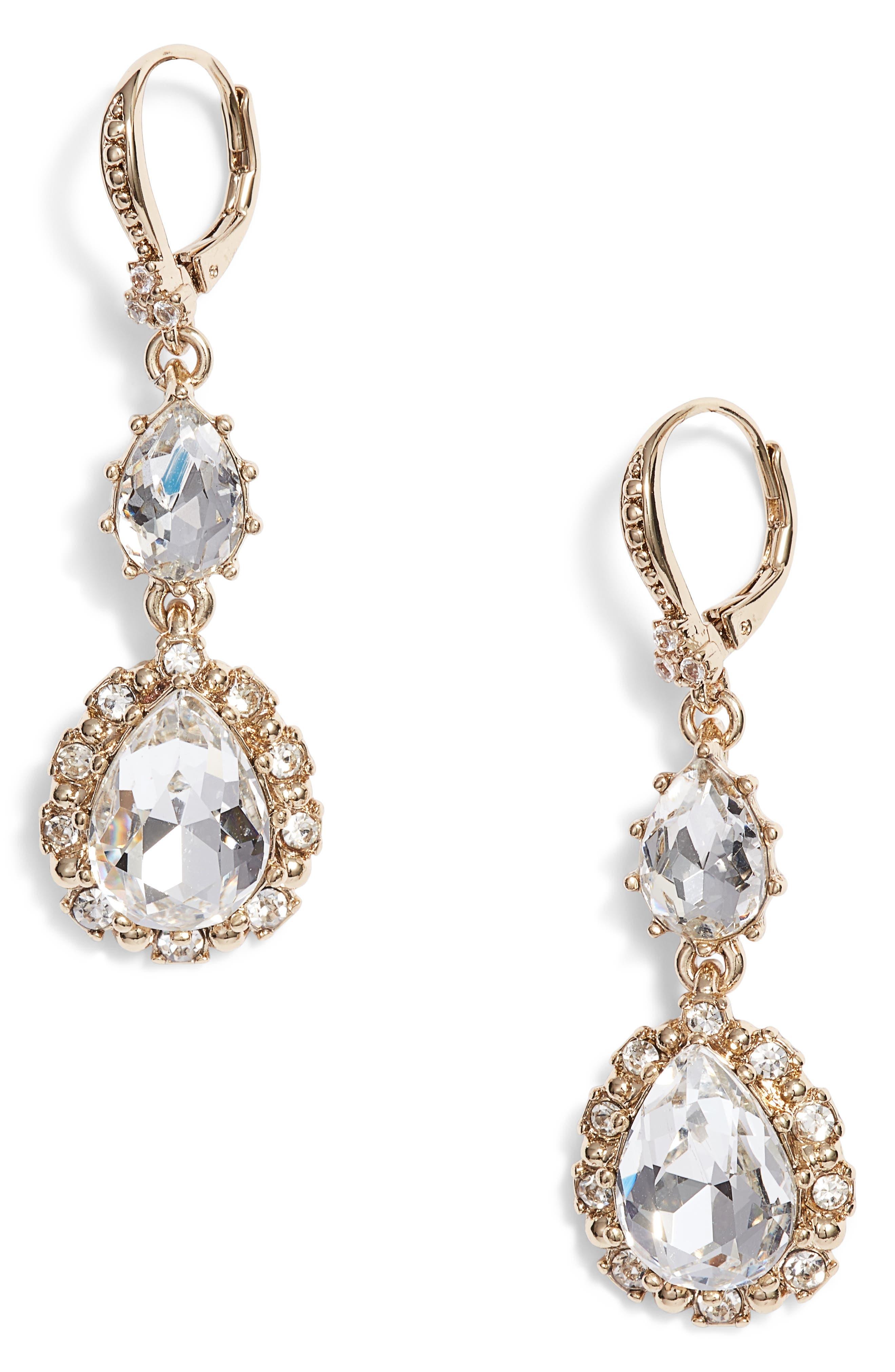 Medium Double Drop Crystal Earrings,                             Main thumbnail 1, color,                             711