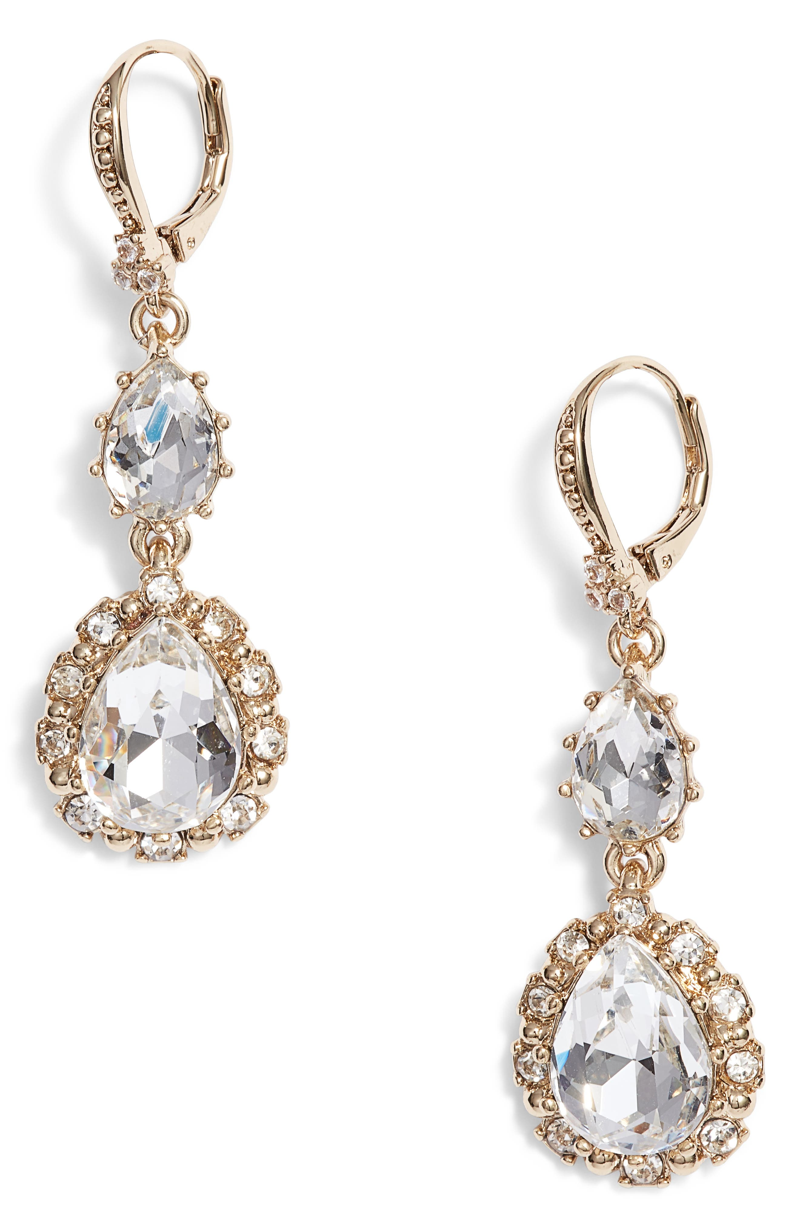 Medium Double Drop Crystal Earrings,                         Main,                         color, 711