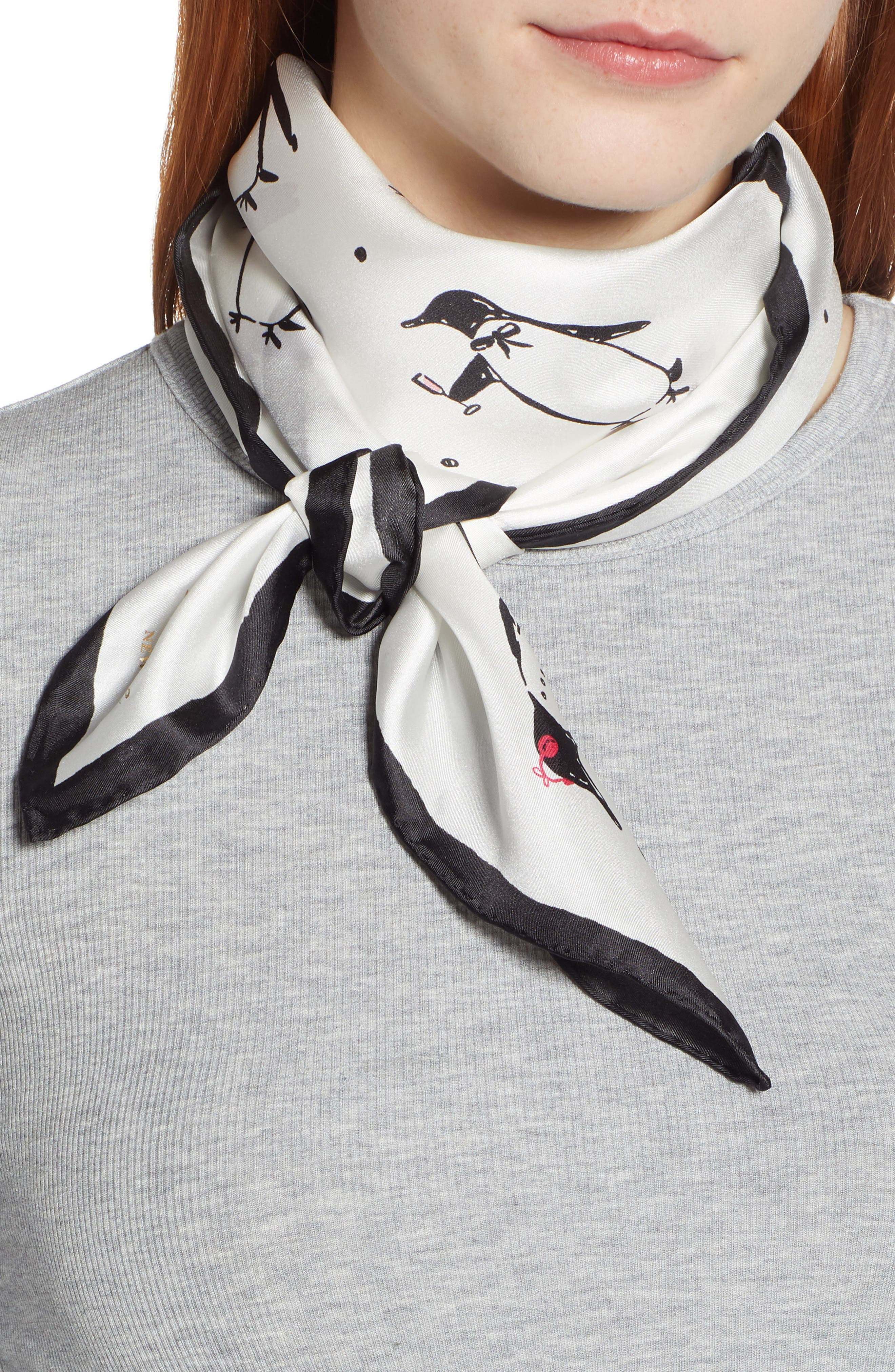 penguin silk square scarf,                             Main thumbnail 1, color,                             CREAM