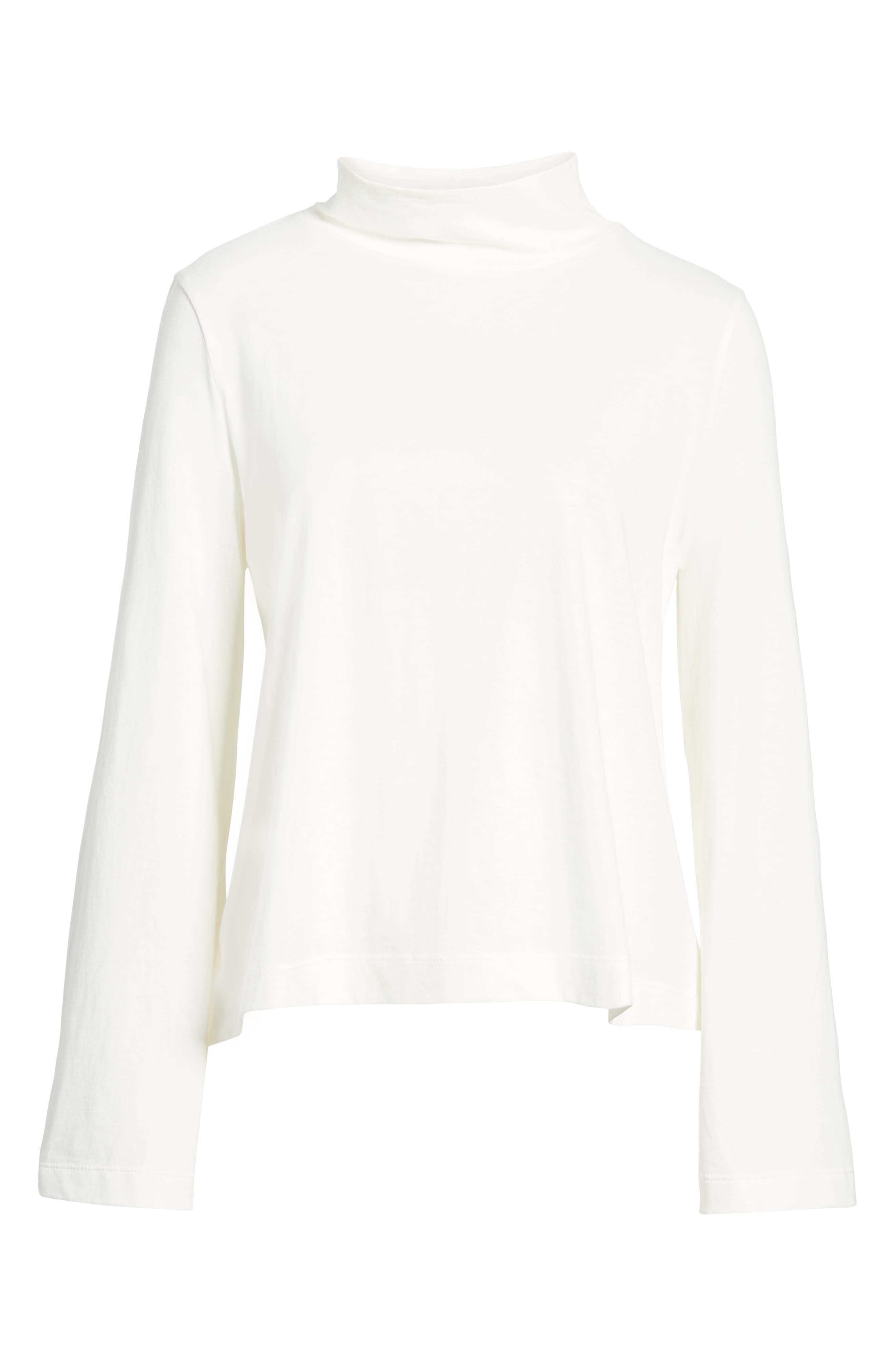 Wide Sleeve Turtleneck,                             Alternate thumbnail 6, color,                             BRIGHT IVORY