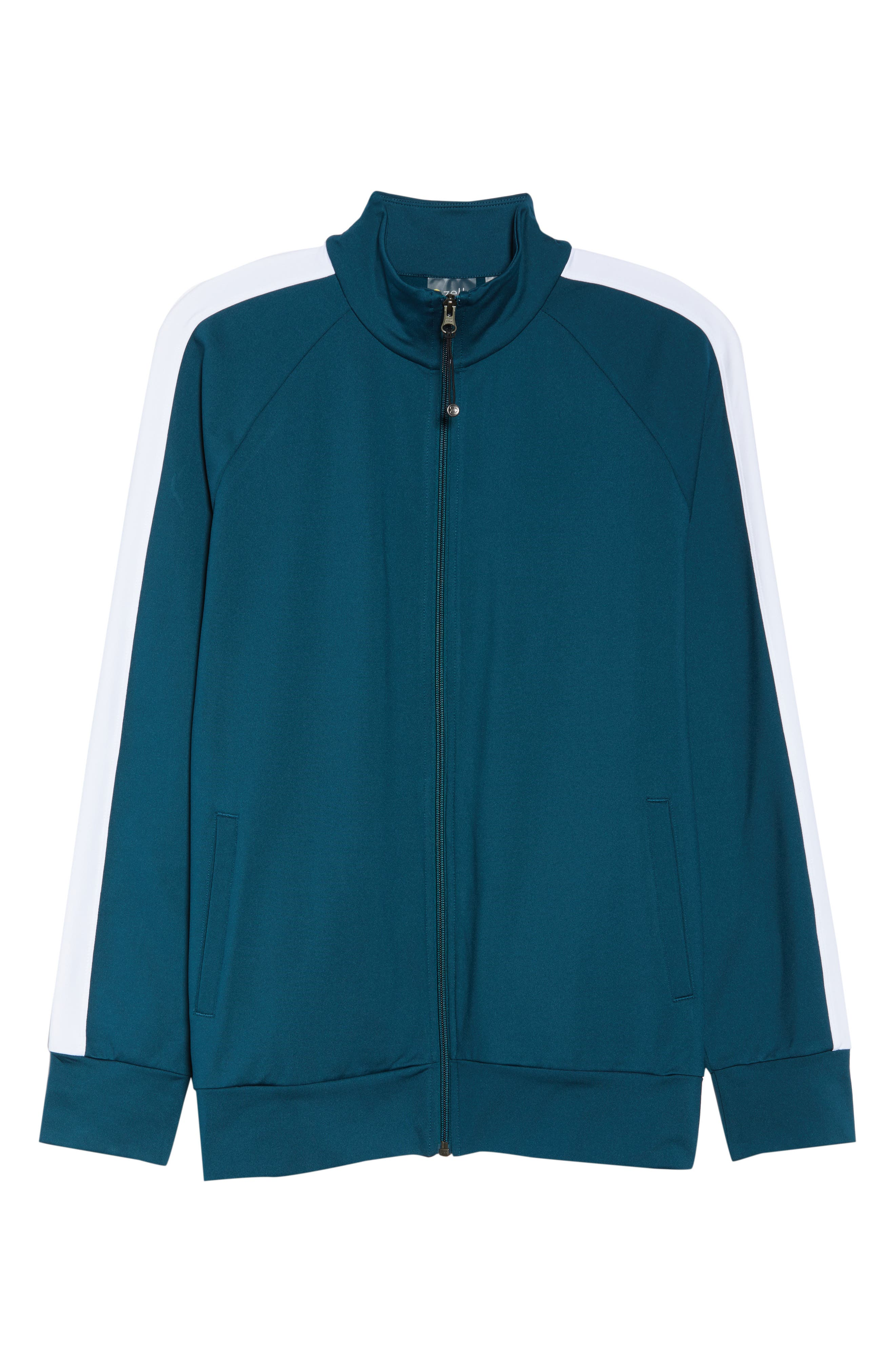 Taylor Track Jacket,                             Alternate thumbnail 6, color,                             TEAL ABYSS
