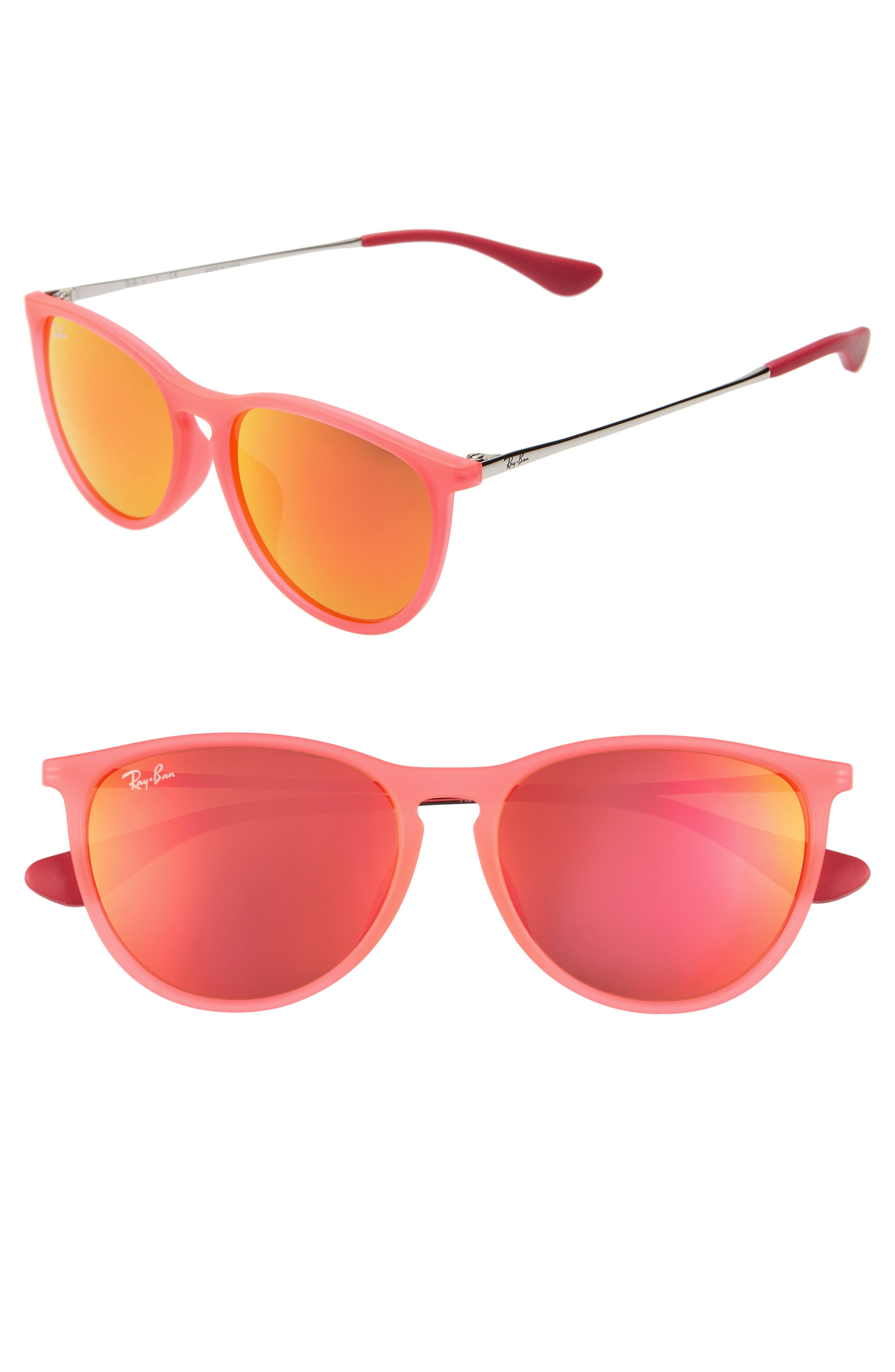 Ray-Ban Erika Junior 52Mm Mirrored Sunglasses - Pink/ Orange Brown Mirror
