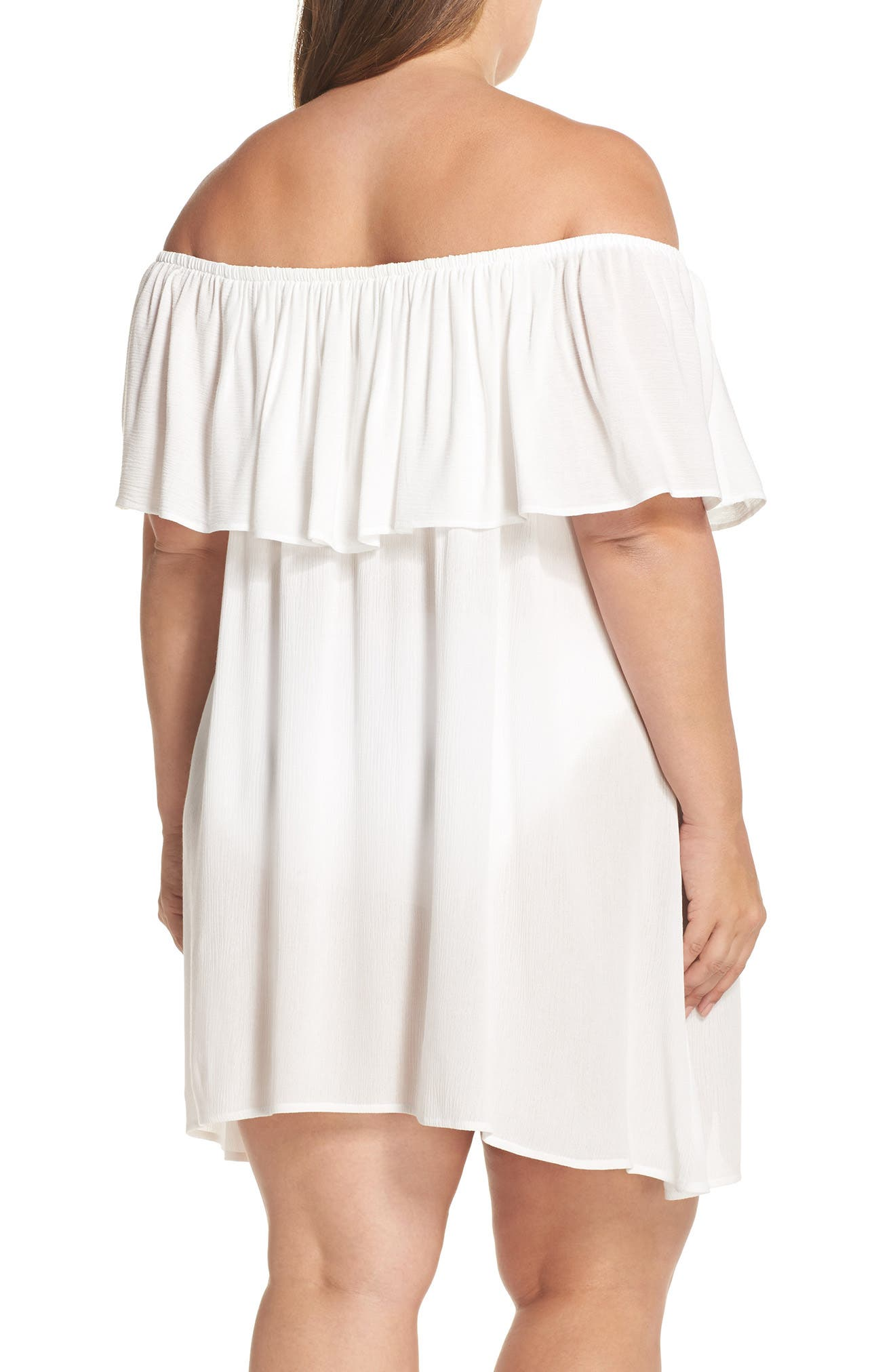Southern Belle Off the Shoulder Cover-Up Dress,                             Alternate thumbnail 4, color,