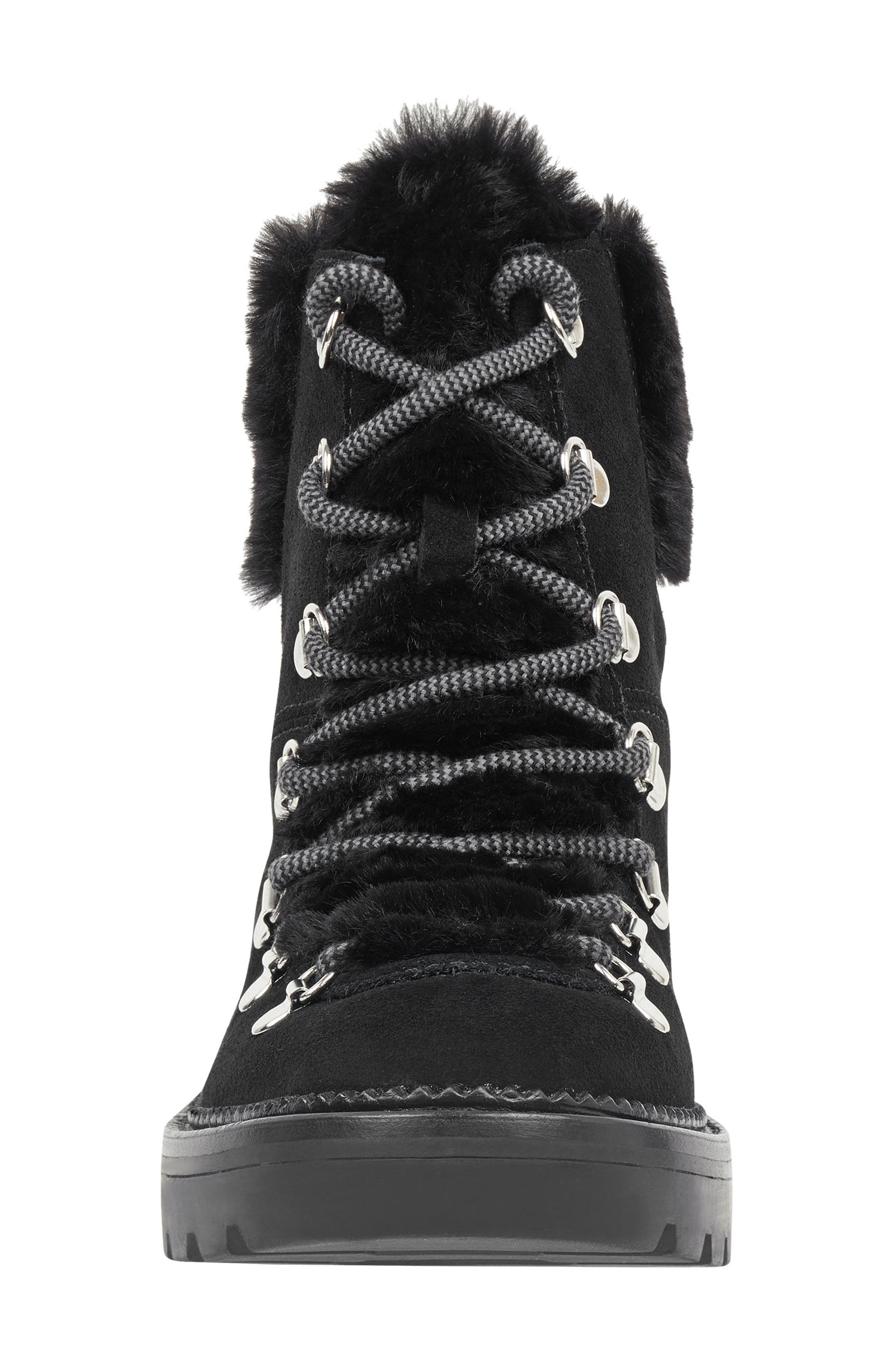 Capell Faux Shearling Cuff Lace-Up Boot,                             Alternate thumbnail 4, color,                             BLACK SUEDE