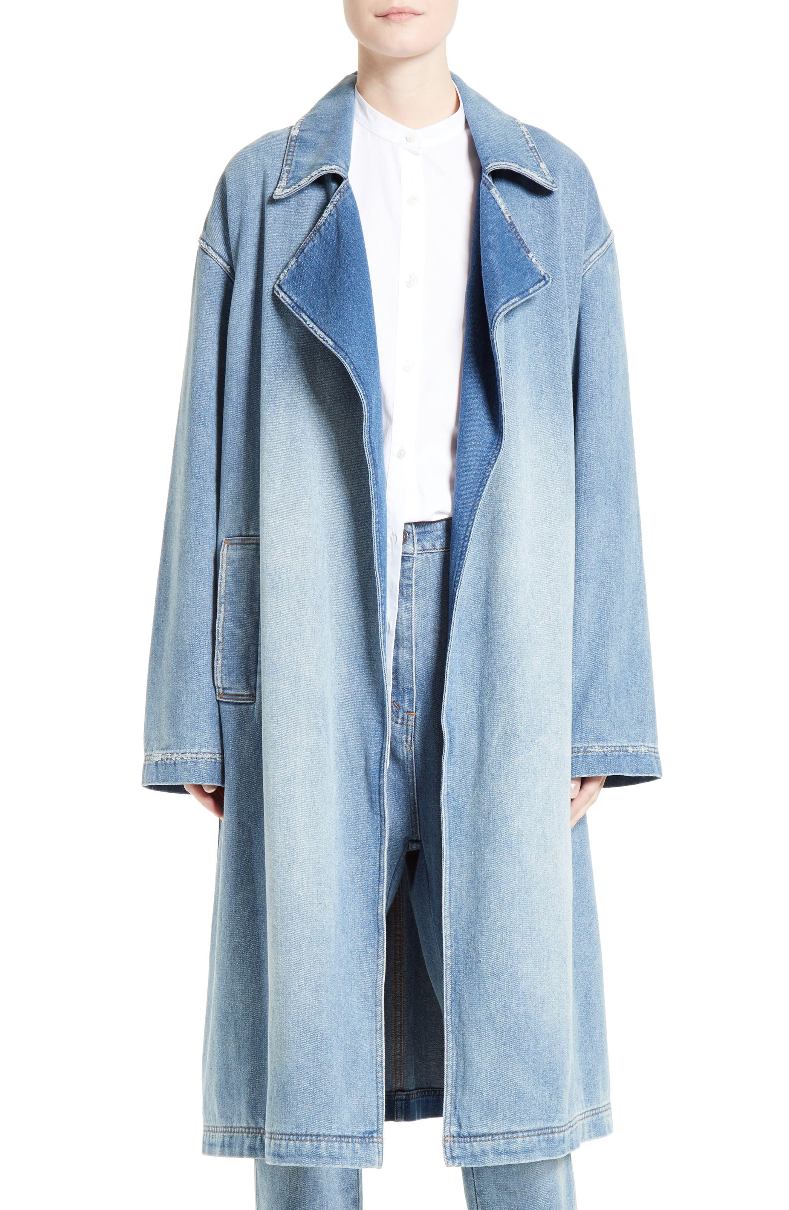Denim Trench Coat,                         Main,                         color, 420