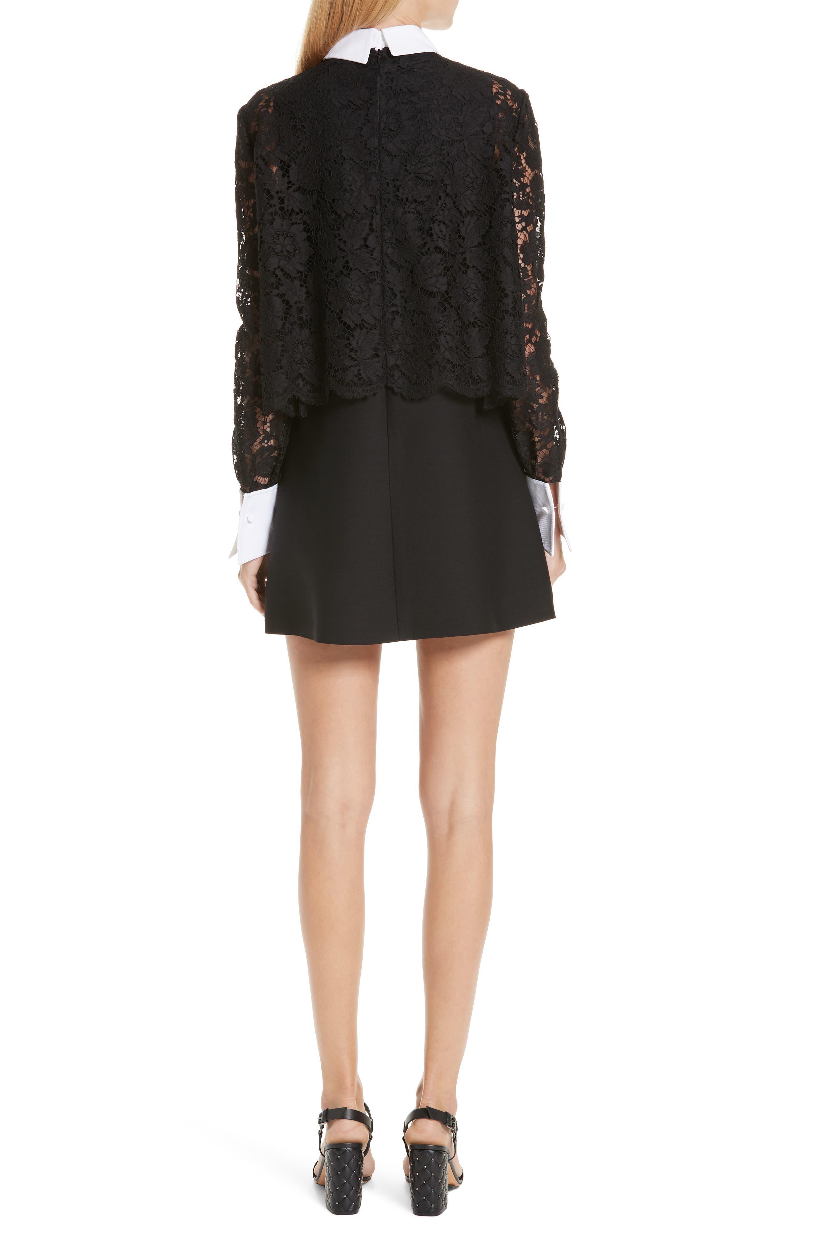 Contrast Collar Lace & Crepe Couture Dress,                             Alternate thumbnail 2, color,                             BLACK