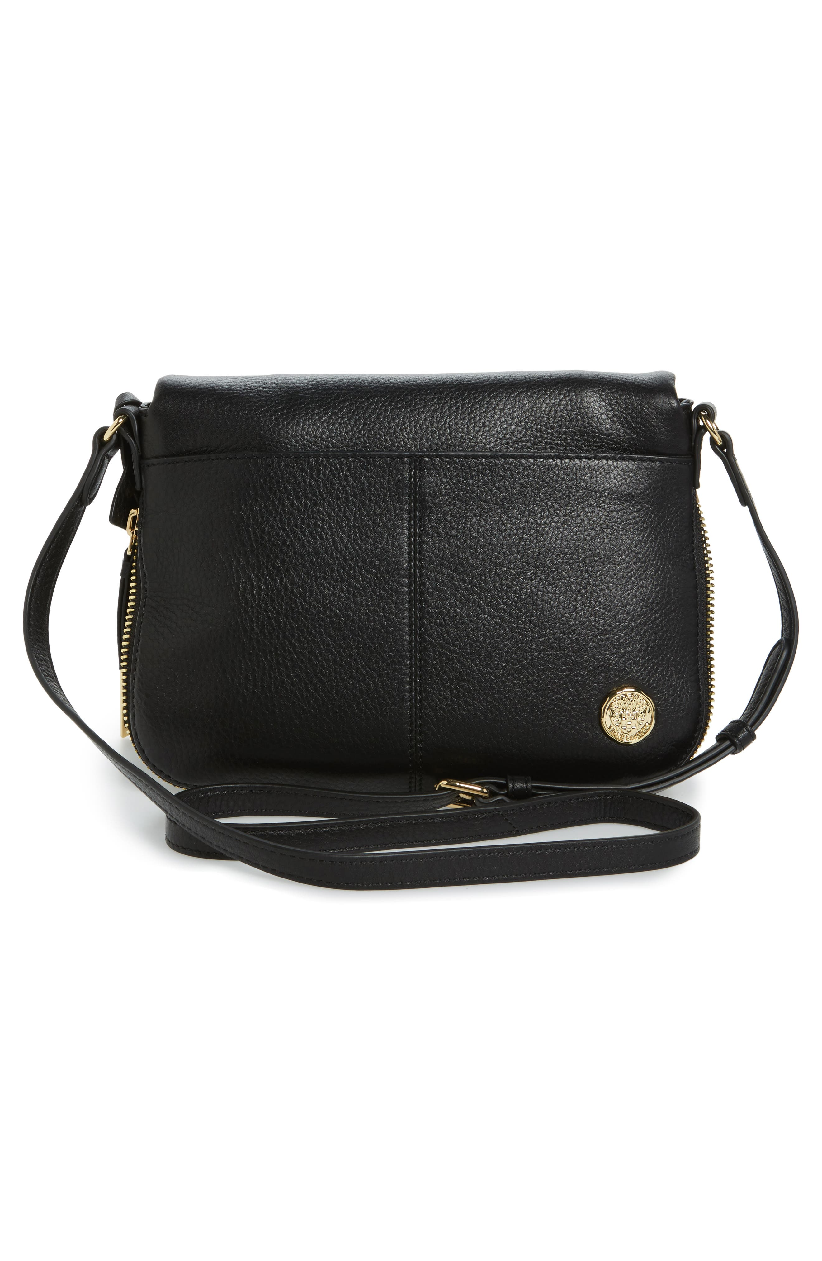 Adina Leather Crossbody Bag,                             Alternate thumbnail 3, color,                             001
