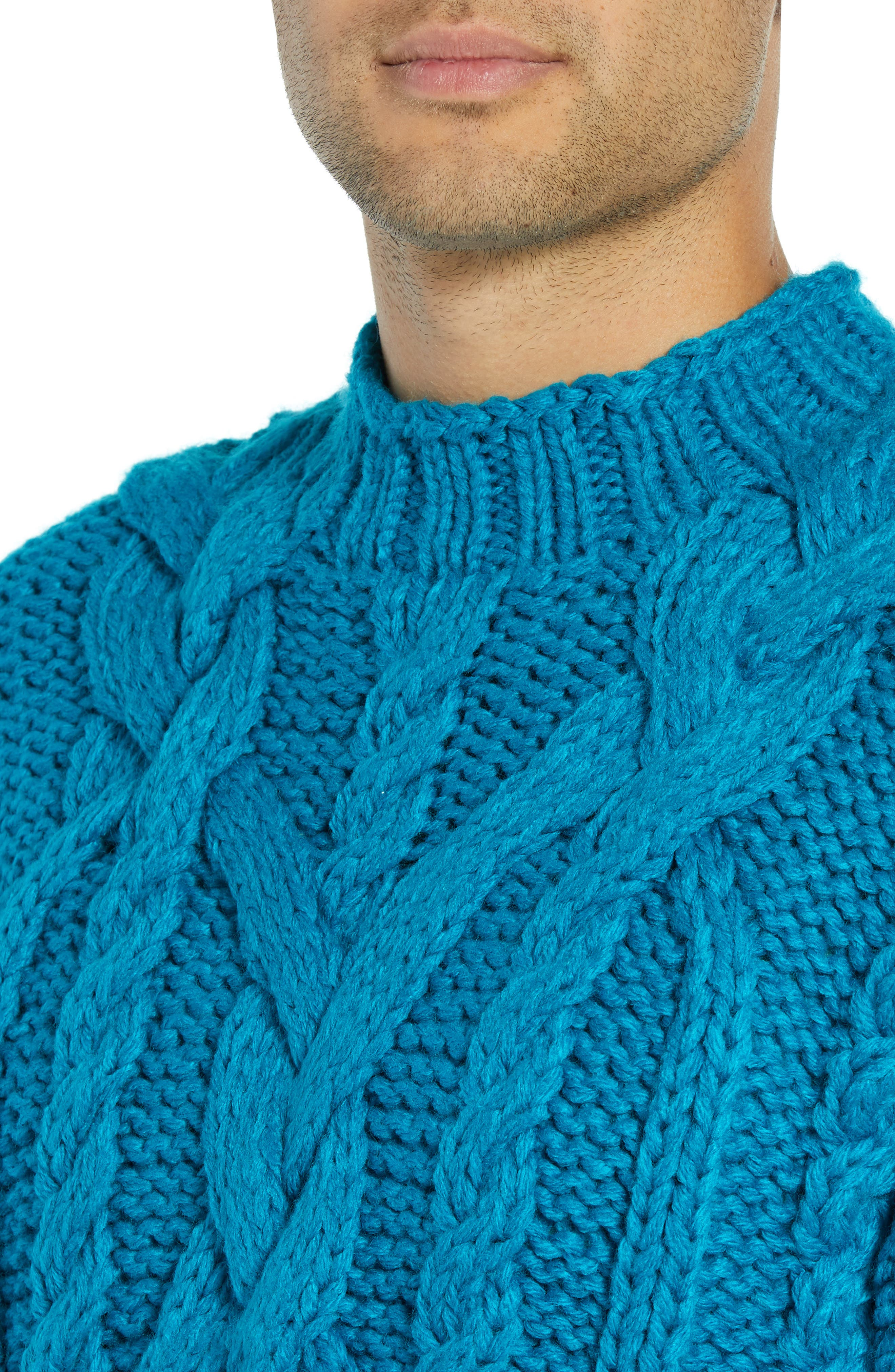 Classic Cable Knit Sweater,                             Alternate thumbnail 4, color,                             BLUE