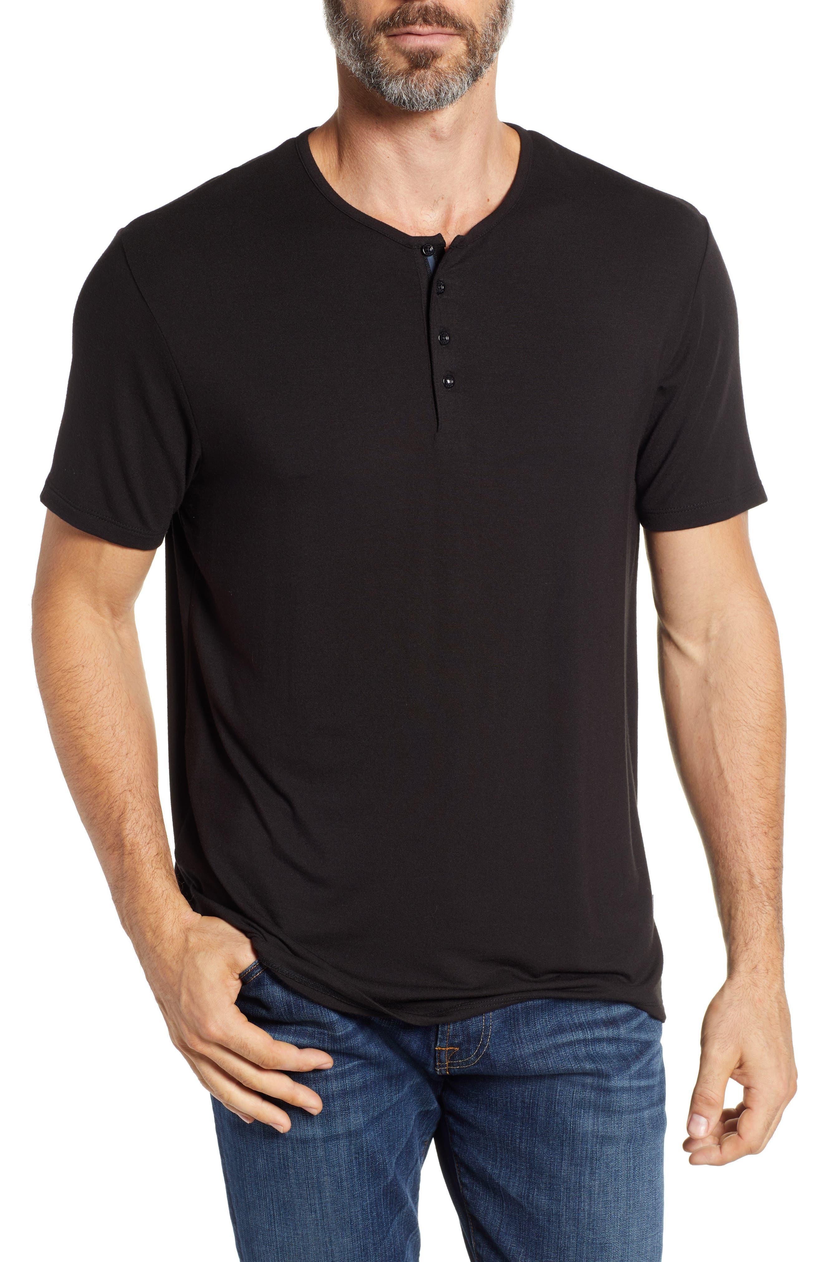 Short Sleeve Stretch Modal Henley,                         Main,                         color, BLACK