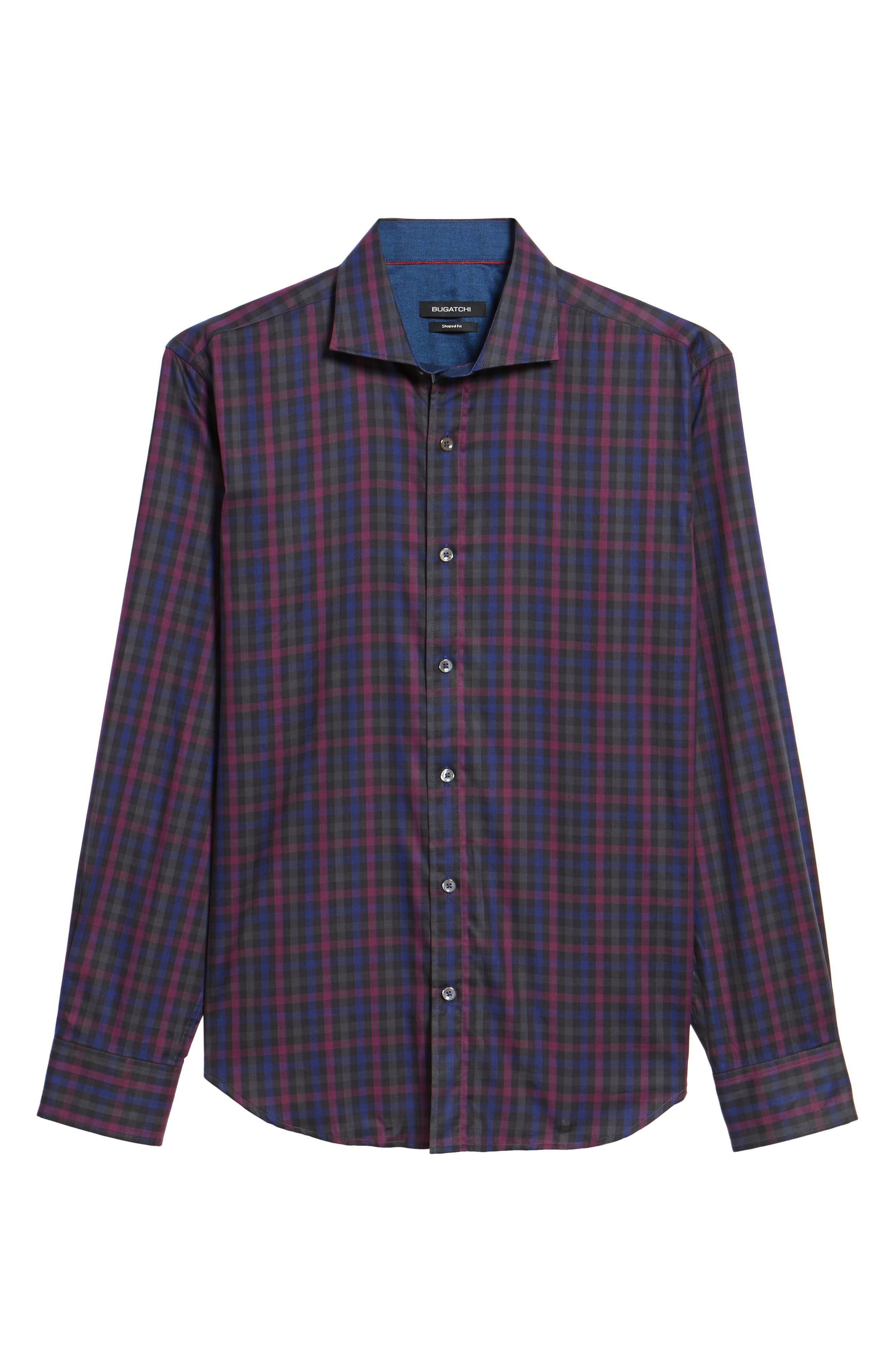 Shaped Fit Herringbone Plaid Sport Shirt,                             Alternate thumbnail 6, color,                             503