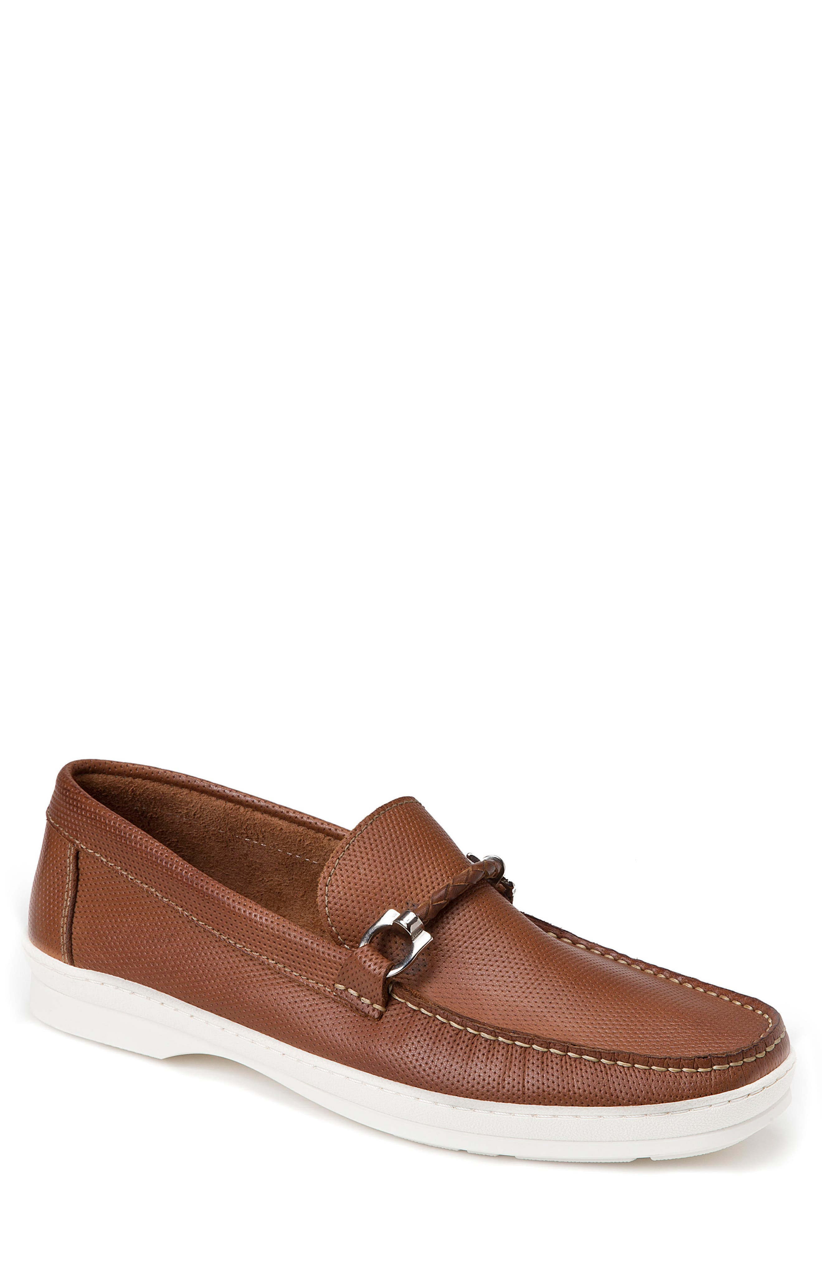 Benito Perforated Moc Toe Loafer,                         Main,                         color, TAN LEATHER