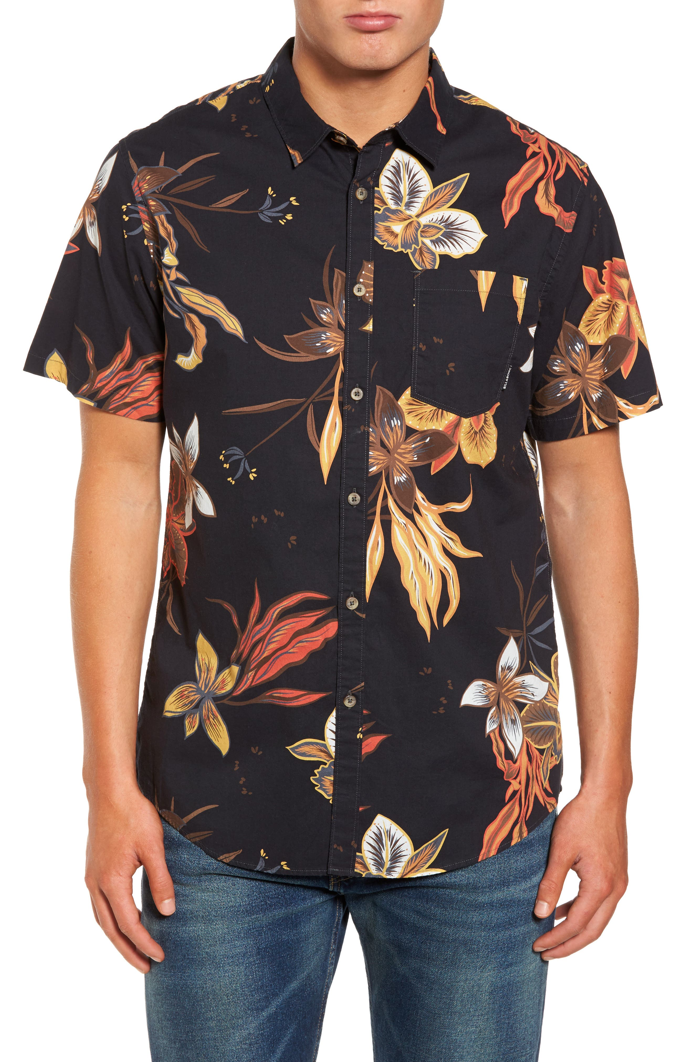 Sunday Floral Woven Shirt,                         Main,                         color, 001
