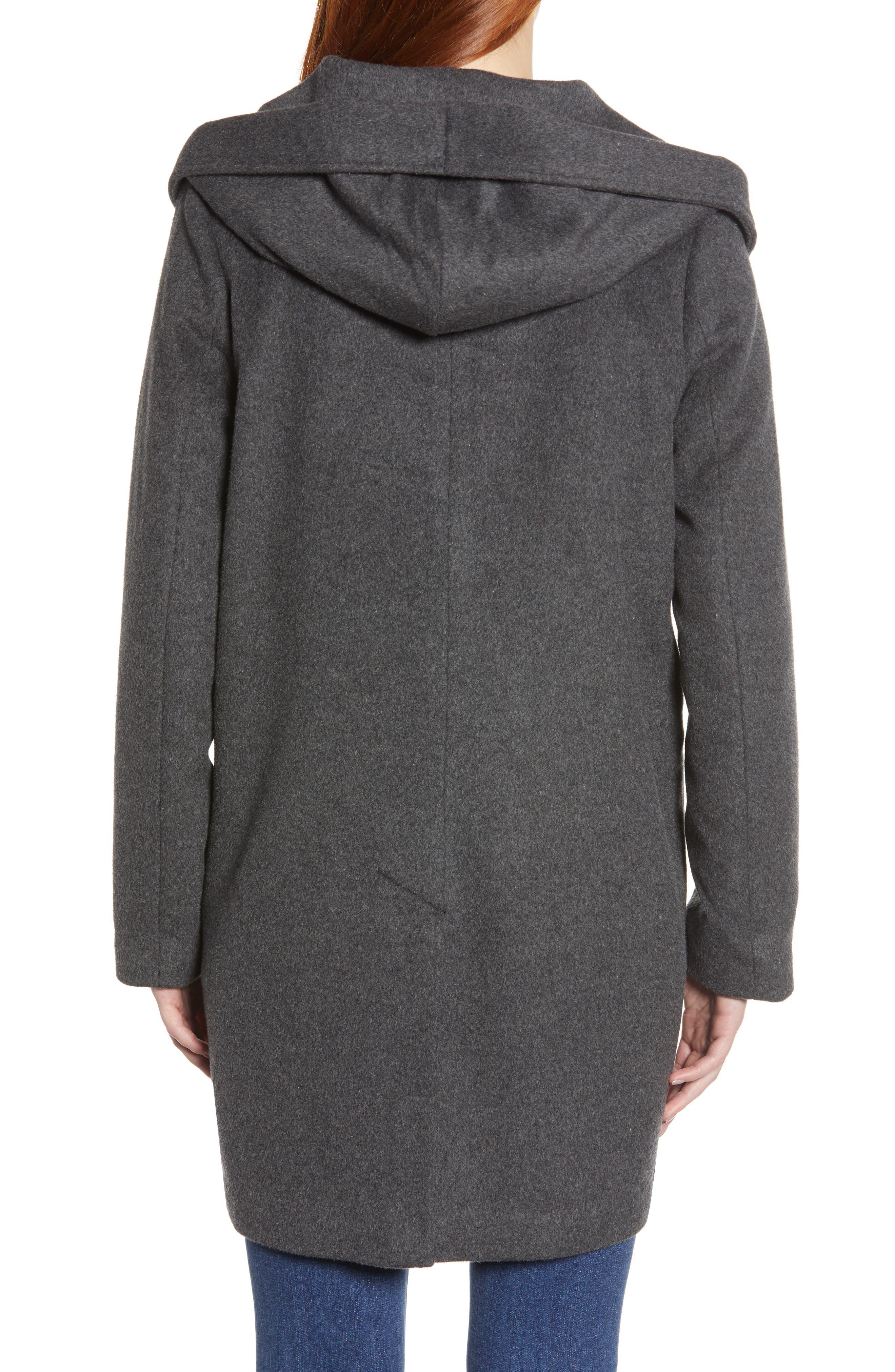 Shawl Collar Hooded Coat,                             Alternate thumbnail 2, color,                             CHARCOAL