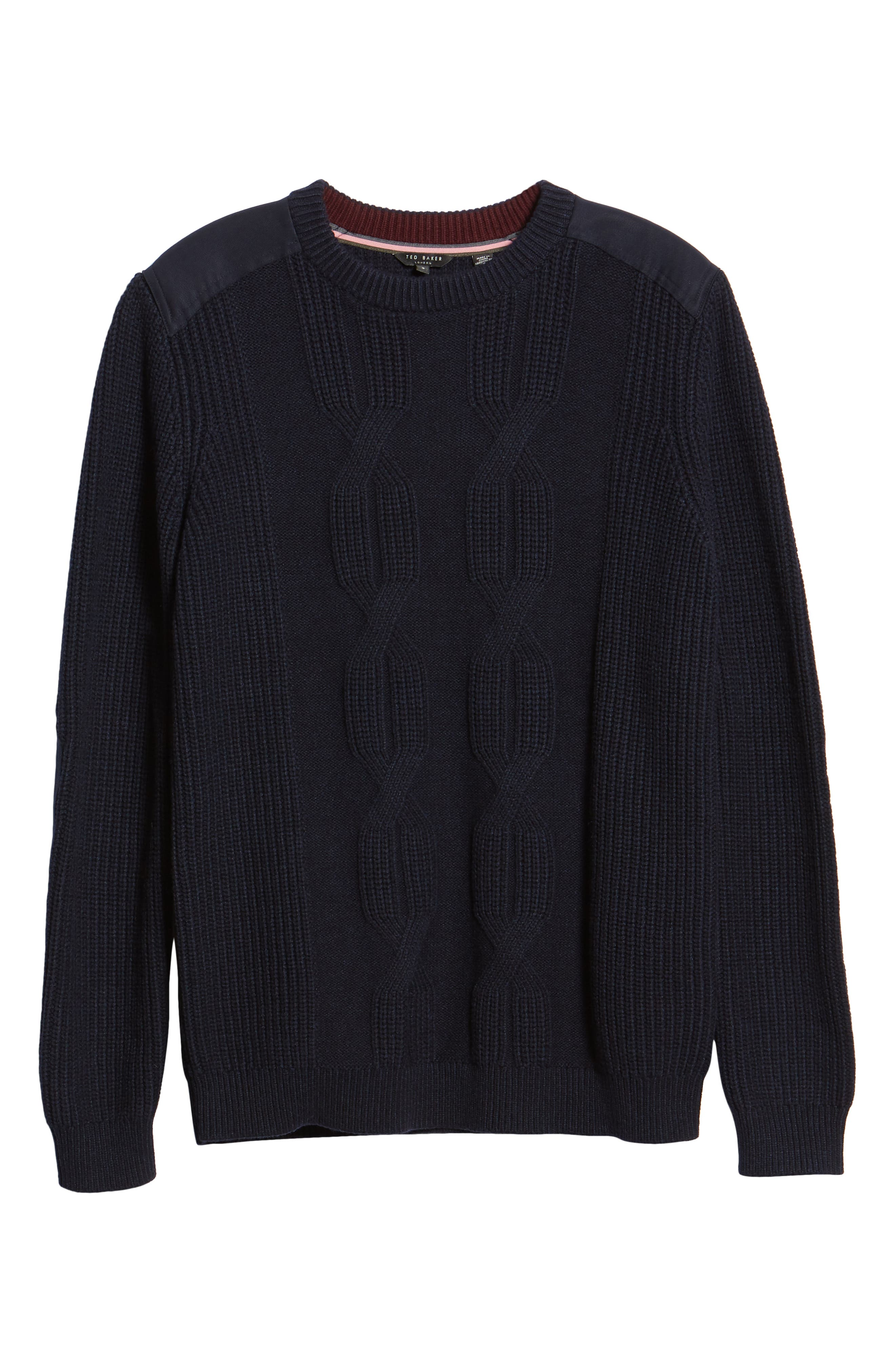 Laichi Trim Fit Cable Crewneck Sweater,                             Alternate thumbnail 6, color,                             NAVY