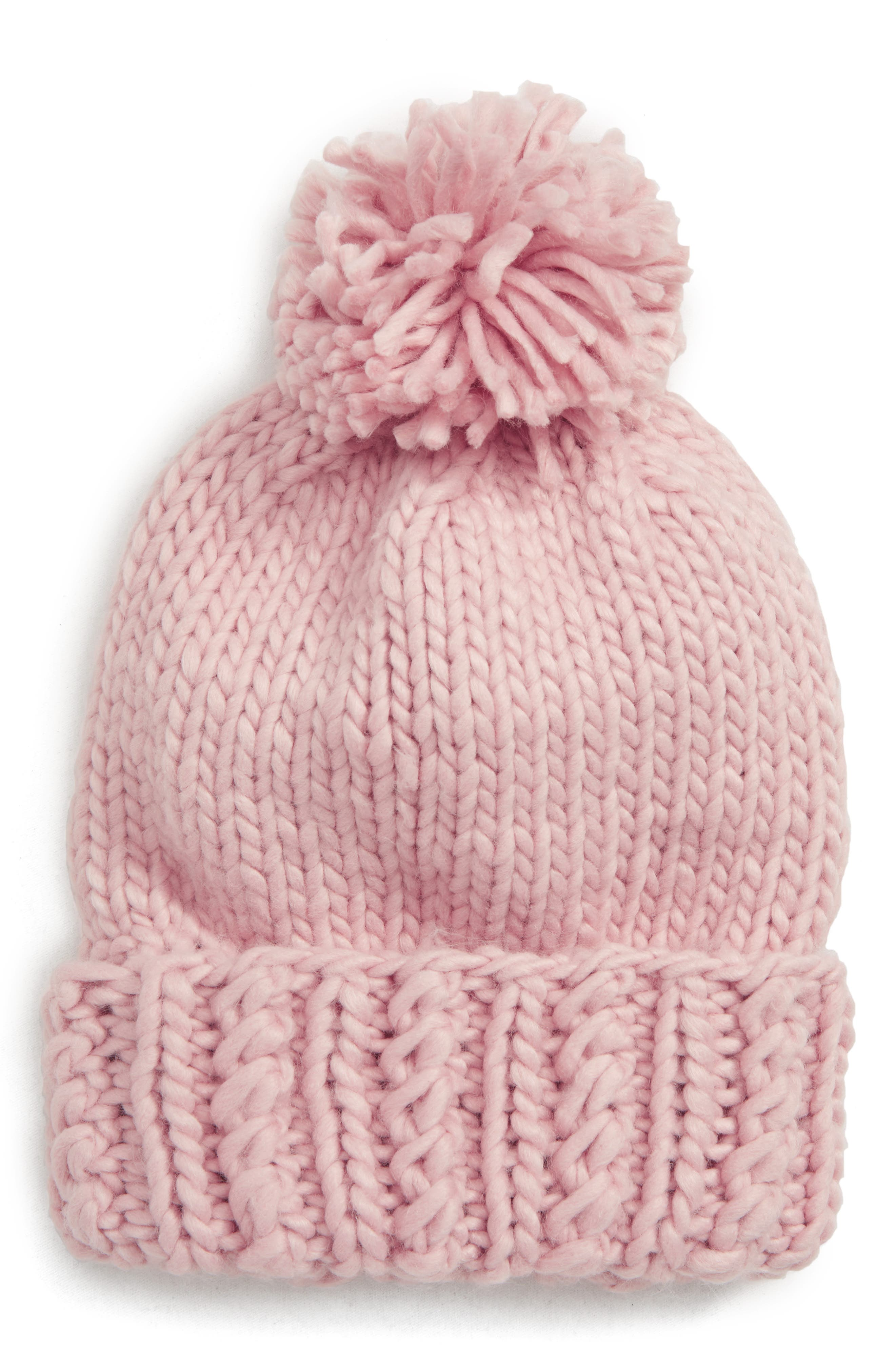 Chunky Knit Pompom Beanie,                             Main thumbnail 1, color,                             650