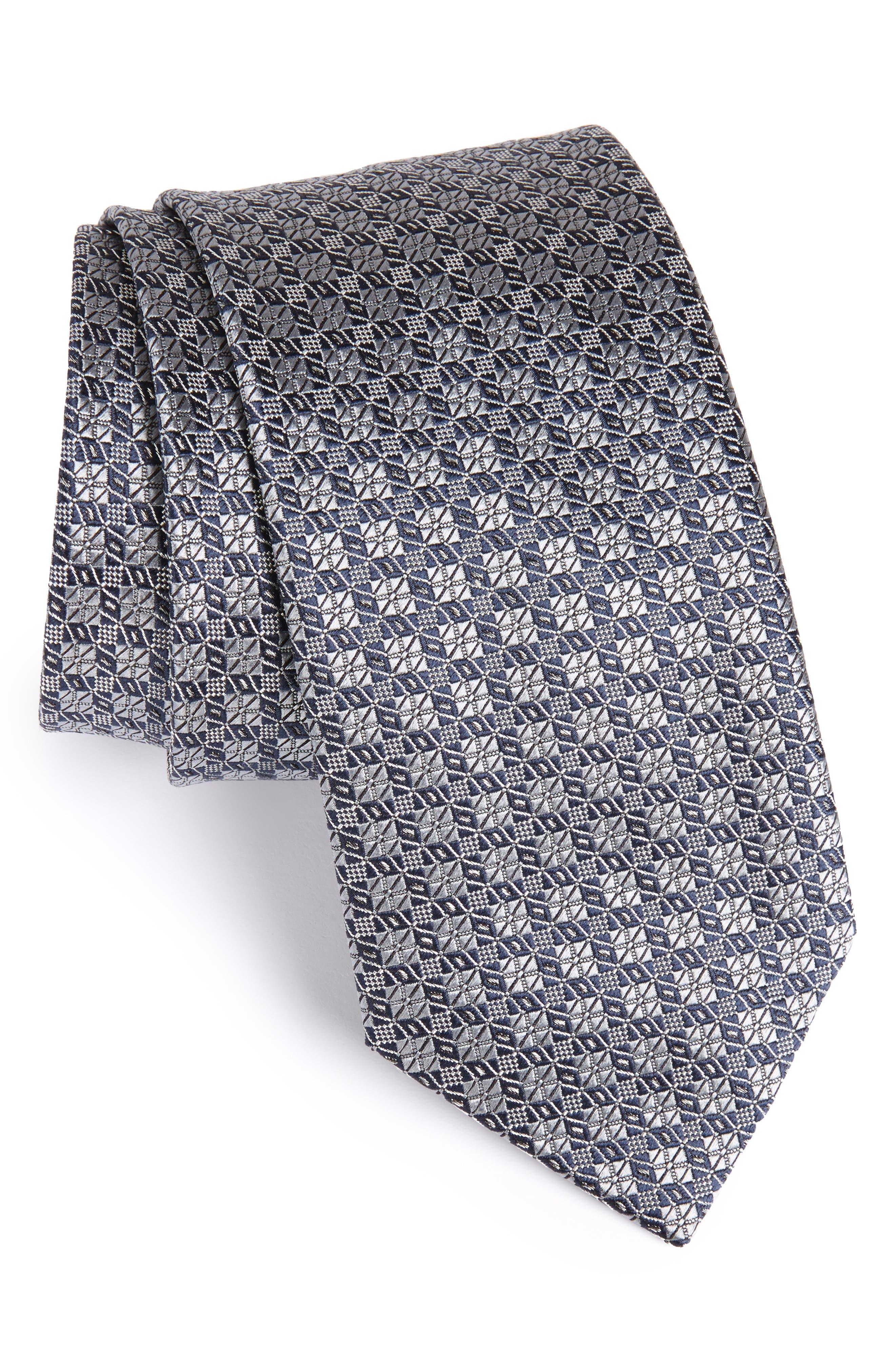 Geometric Silk Tie,                         Main,                         color, 025