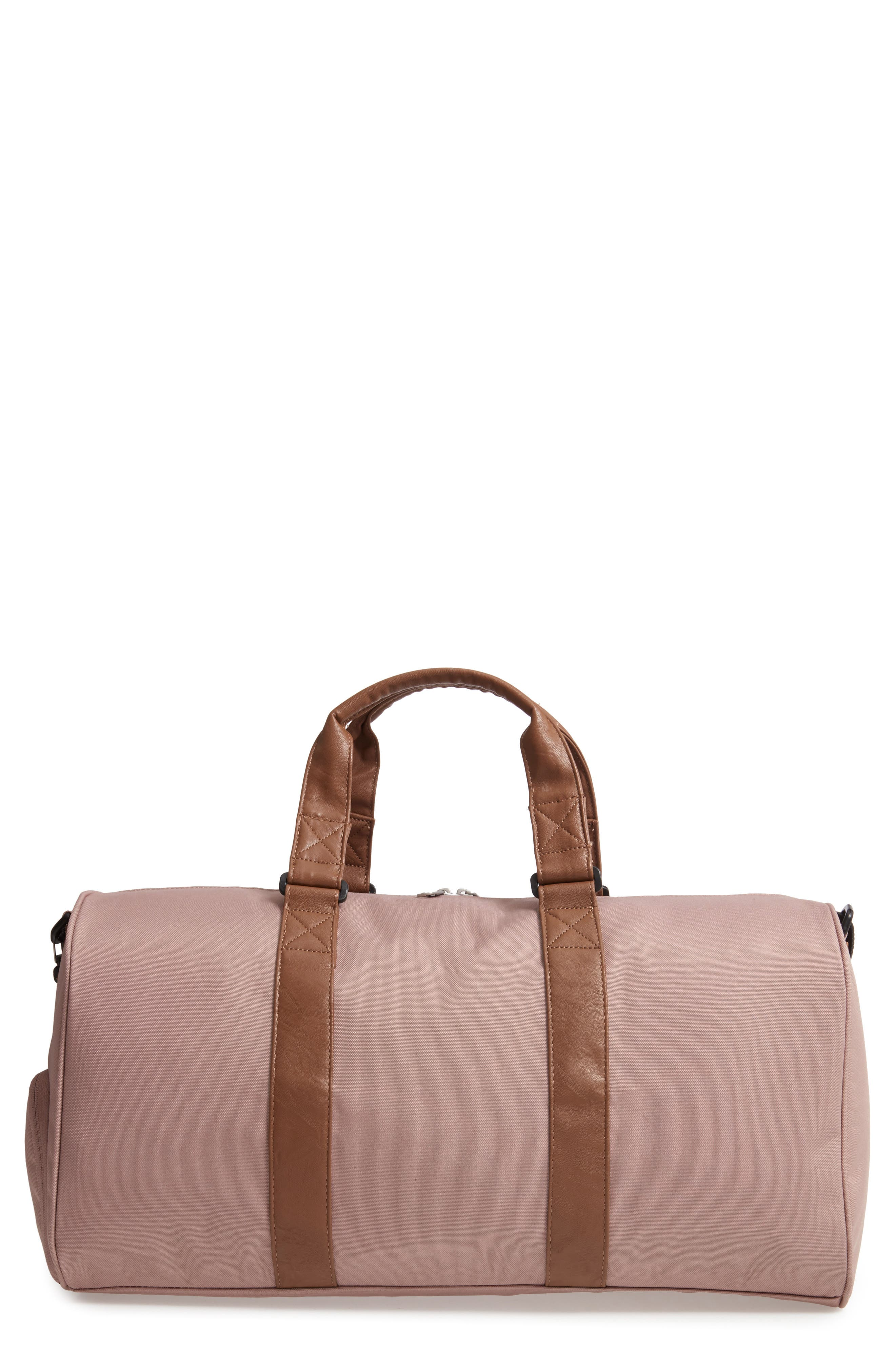 Novel Canvas Duffel Bag,                         Main,                         color, ASH ROSE/TAN