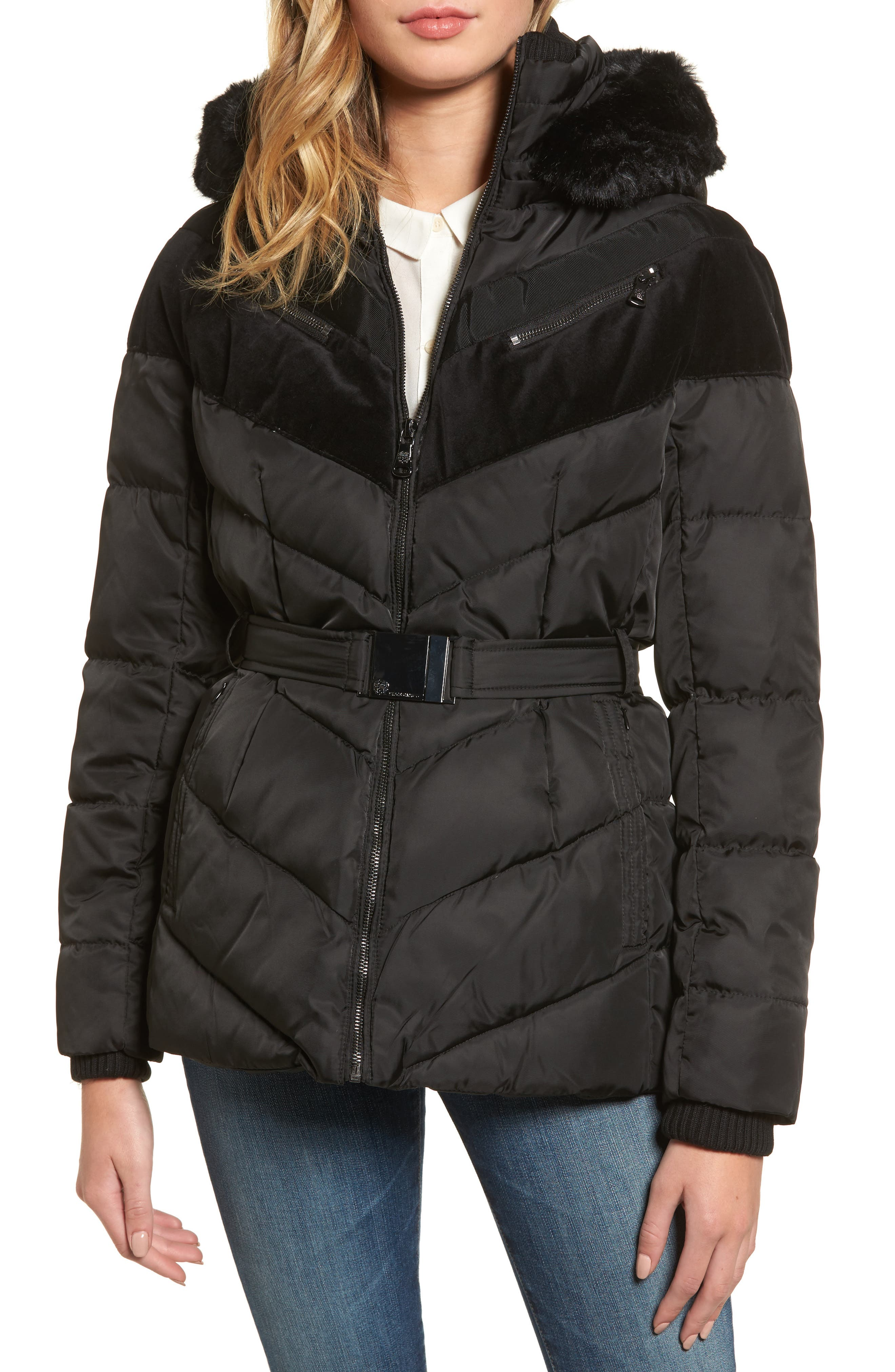Belted Down & Feather Fill Coat with Faux Fur Trim Hood,                         Main,                         color,