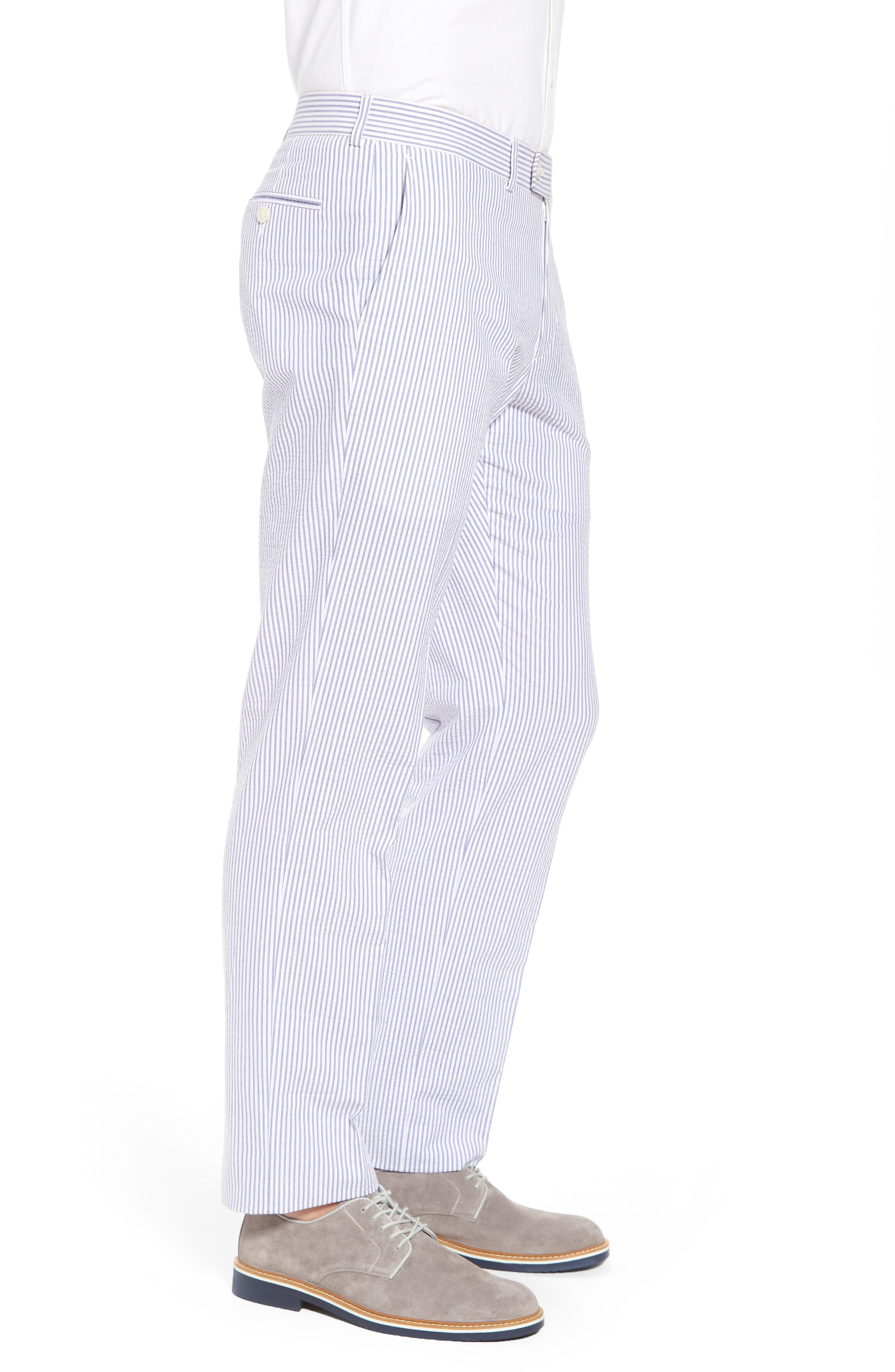 Andrew AIM Flat Front Seersucker Trousers,                             Alternate thumbnail 3, color,                             BLUE AND WHITE