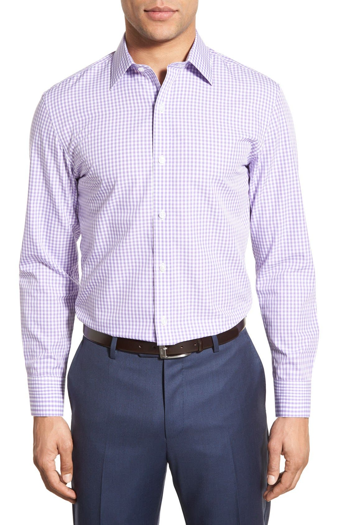 Slim Fit Wrinkle Free Check Dress Shirt,                             Alternate thumbnail 7, color,                             LILAC