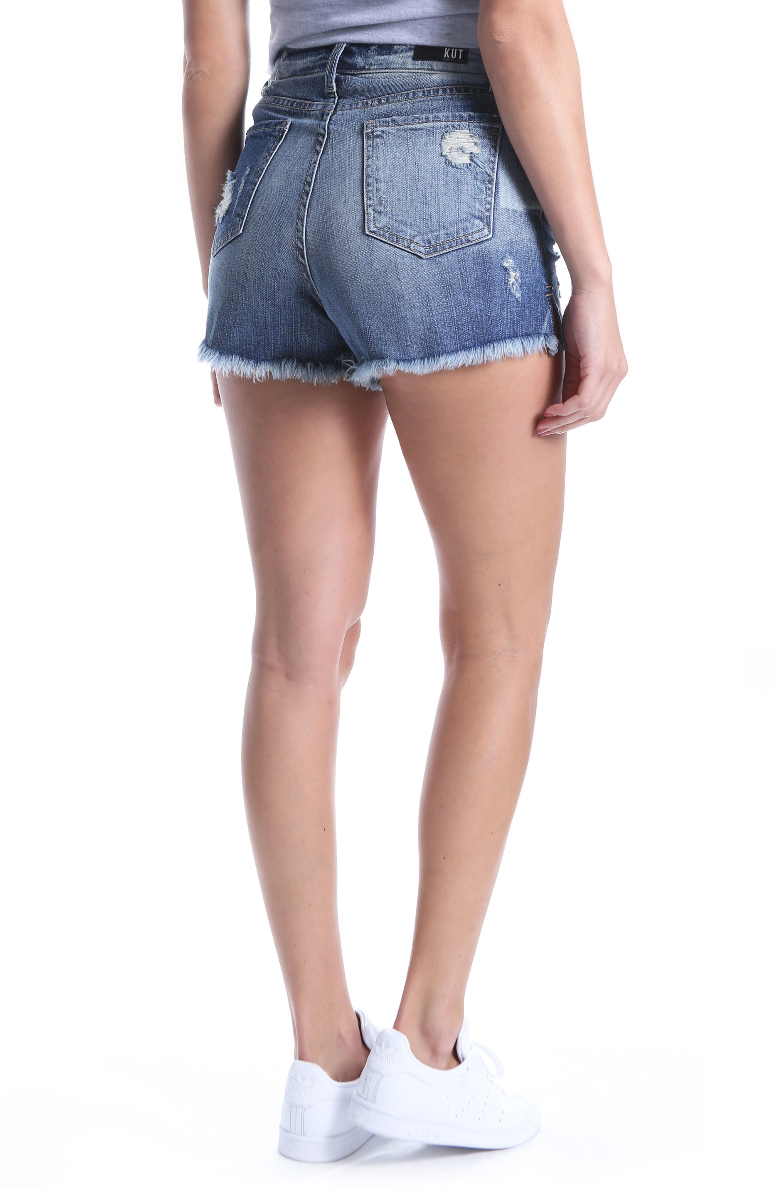 KUT Kollection High Waist Ripped Denim Shorts,                             Alternate thumbnail 2, color,