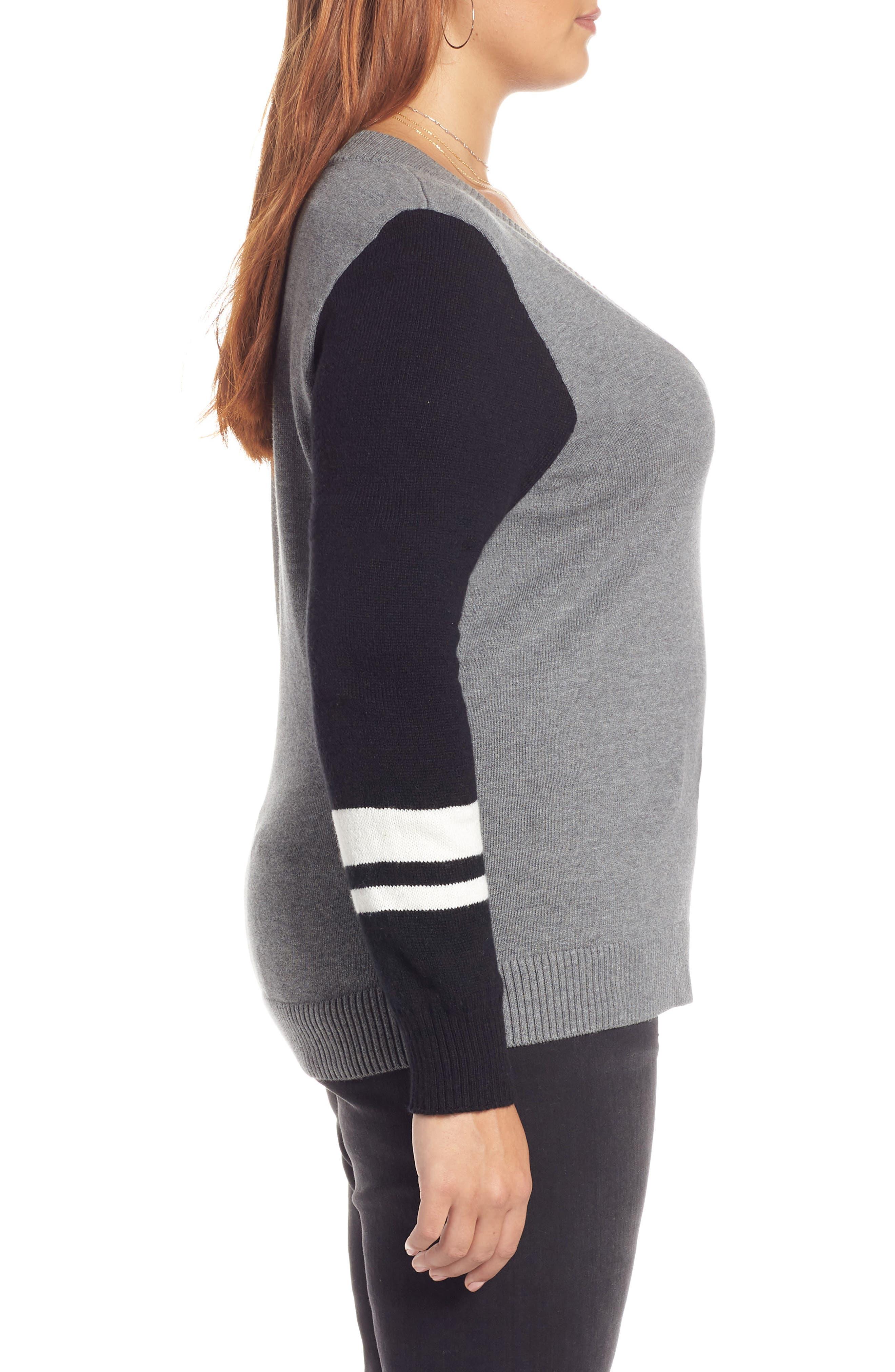 Stripe V-Neck Sweater,                             Alternate thumbnail 9, color,                             GREY HEATHER COMBO
