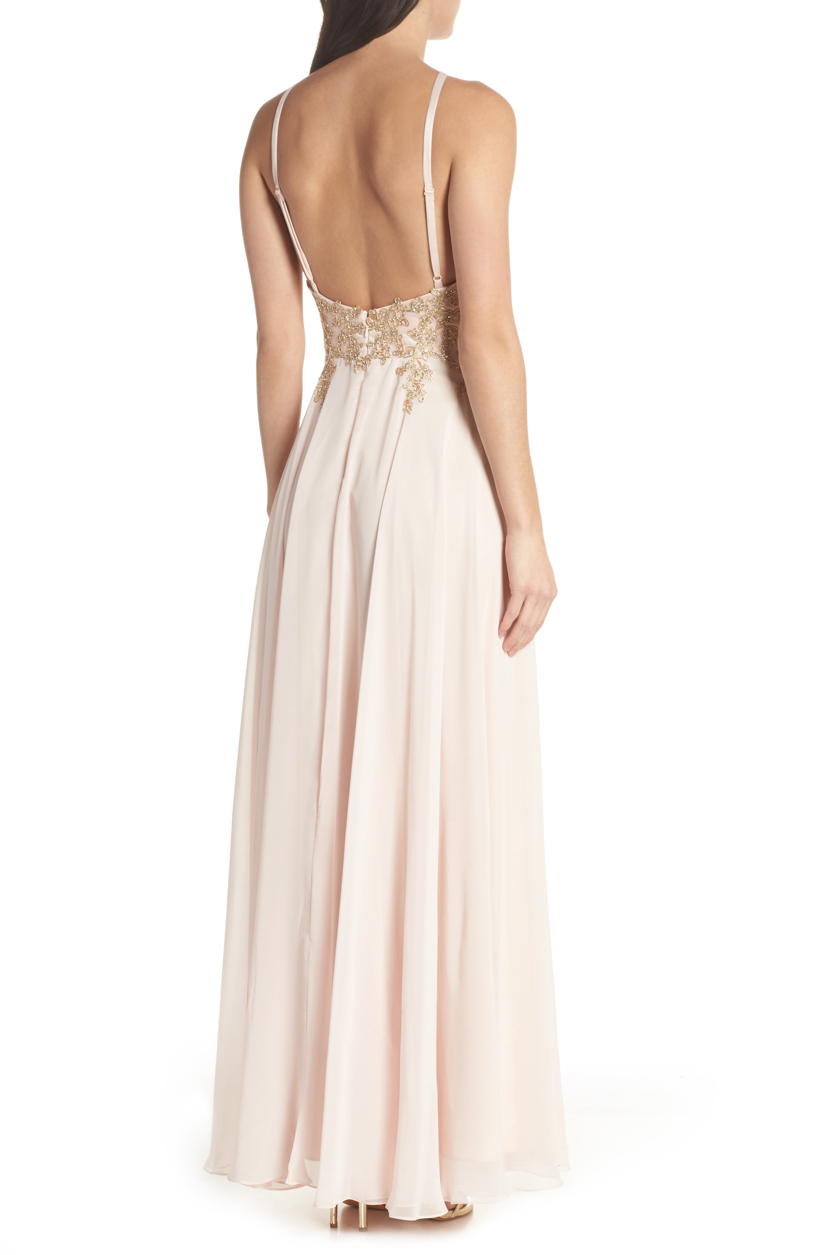 Embroidered Chiffon Halter Dress,                             Alternate thumbnail 2, color,                             BLUSH/ GOLD