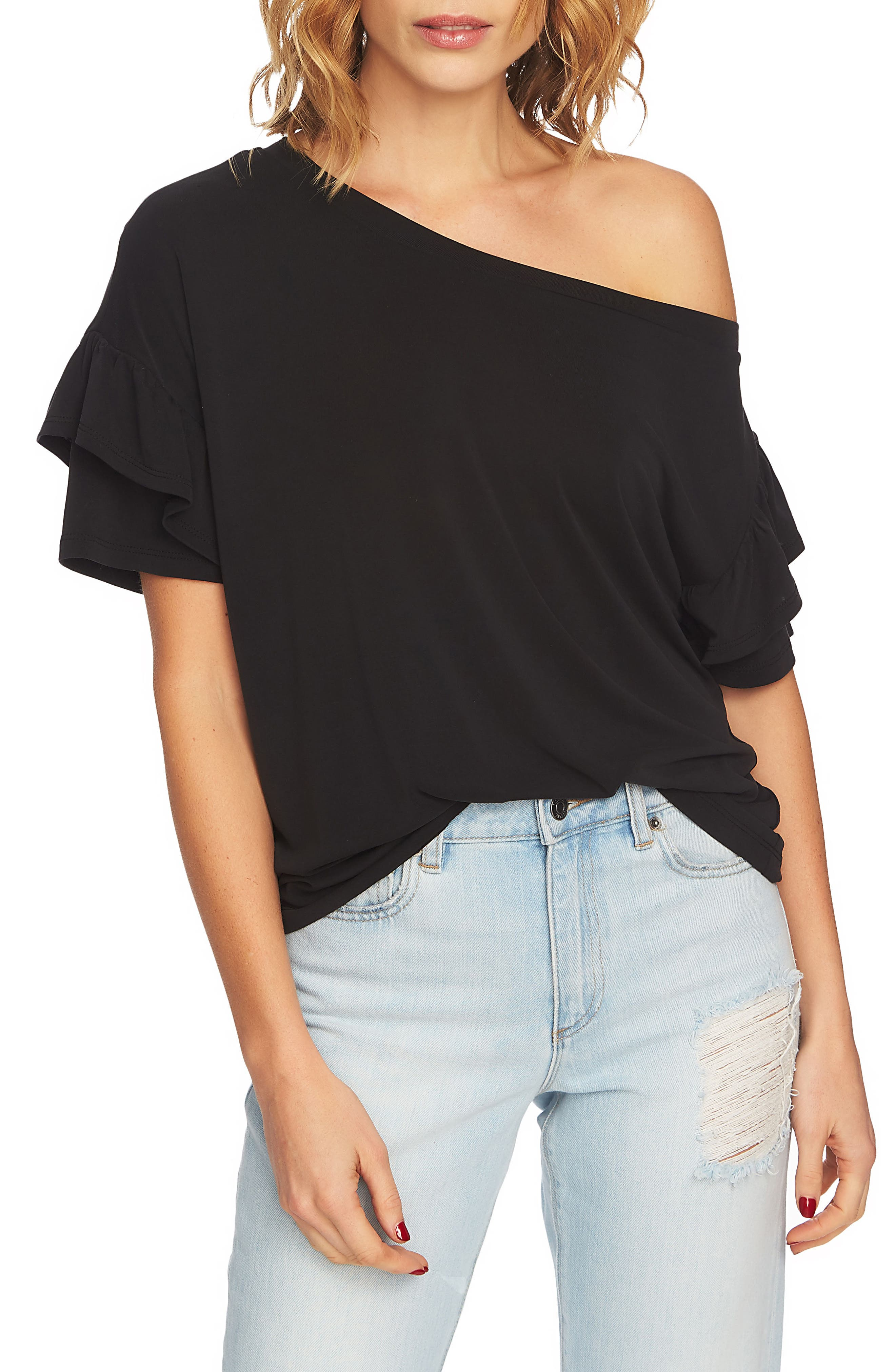 Ruffle Sleeve One-Shoulder Tee,                             Main thumbnail 1, color,                             006